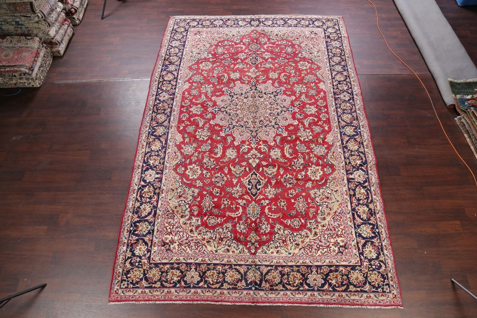 One-of-a-Kind Najafabad Floral Isfahan Persian Hand-Knotted 8'5