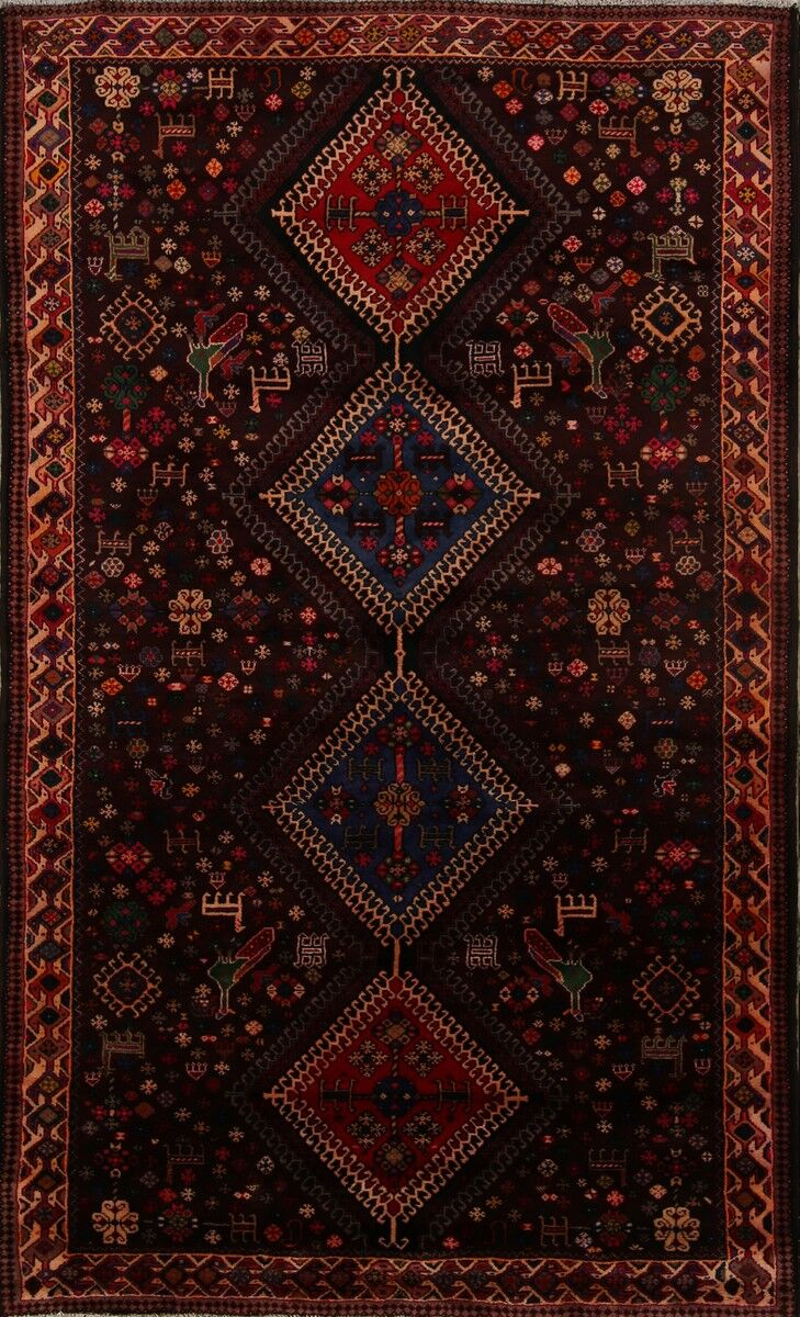 One-of-a-Kind Mazeppa Ghashghaei Shiraz Persian Tribal Hand-Knotted 5'4
