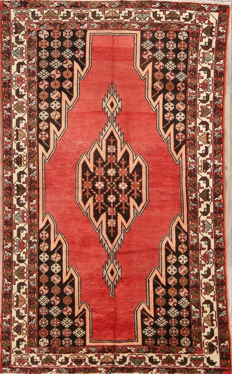 One-of-a-Kind Foust Hamedan Mazlaghan Traditional Vintage Persian Hand-Knotted 4'1