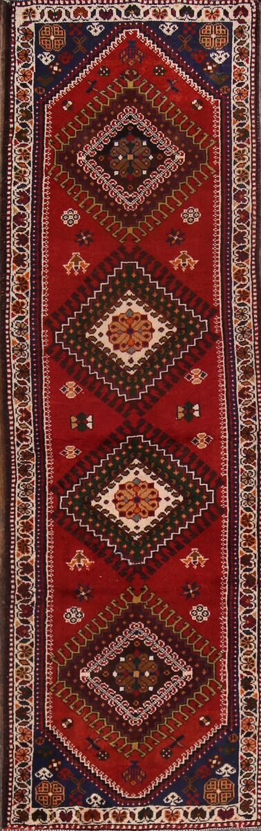 One-of-a-Kind Shiraz Geometric Vintage Persian Hand-Knotted 3'9