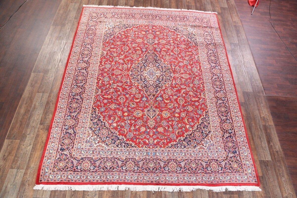 One-of-a-Kind Traditional Mashad Persian Hand-Knotted 9'9