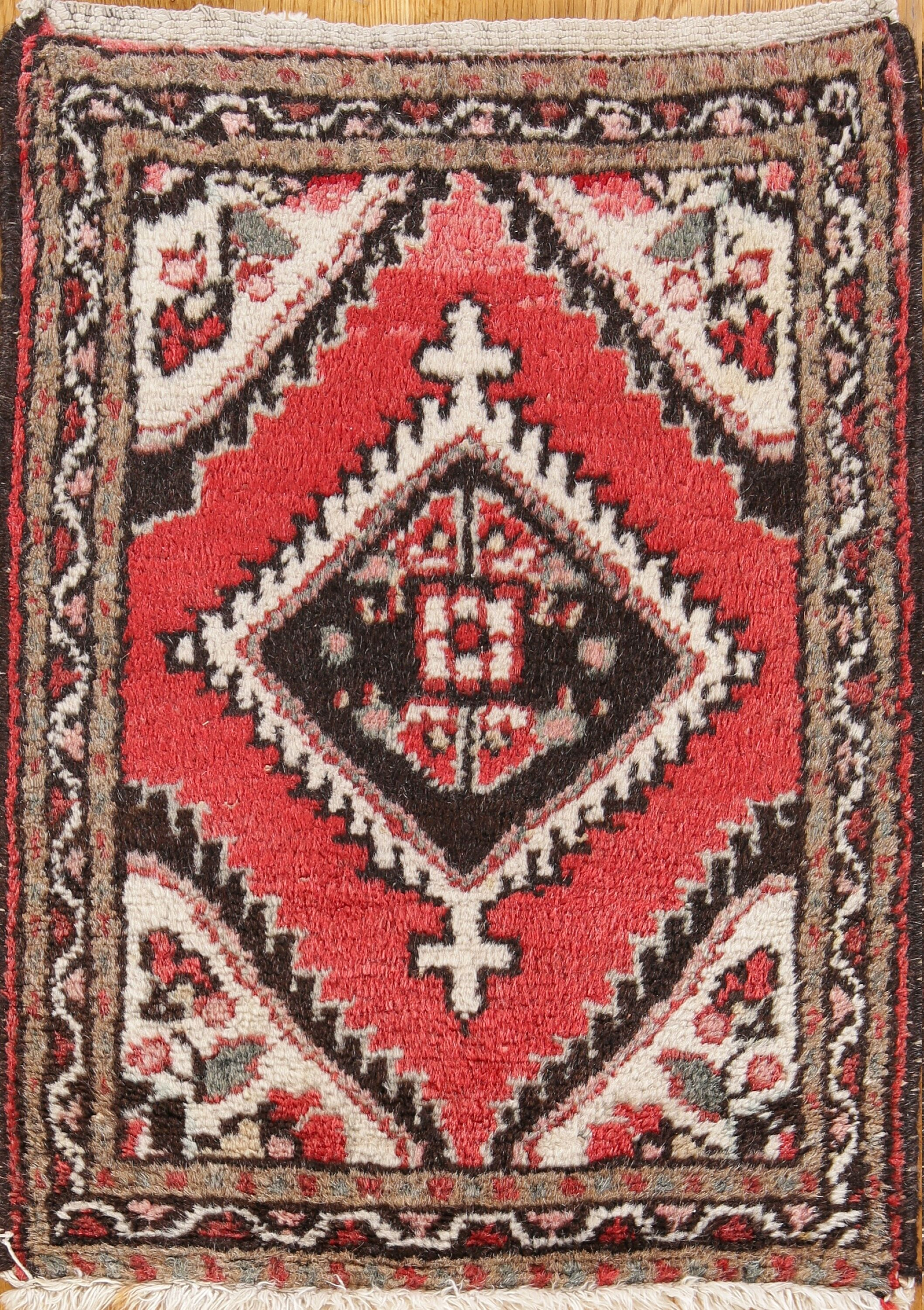One-of-a-Kind Hamedan Persian Hand-Knotted 1'6'' x 2' Wool Brown/Coral Red/Beige Area Rug