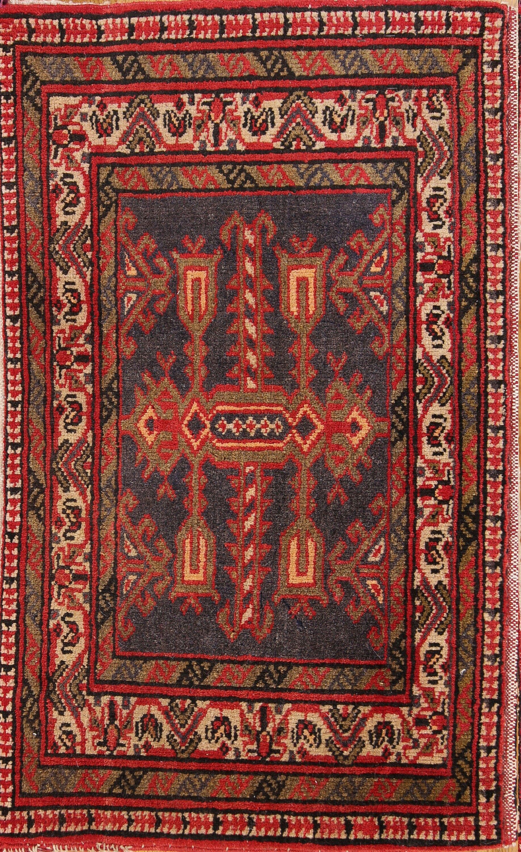 One-of-a-Kind Poshti Meshkin Traditional Persian Hand-Knotted 1'8'' x 2'9'' Wool Burgundy/Beige/Charcoal Area Rug