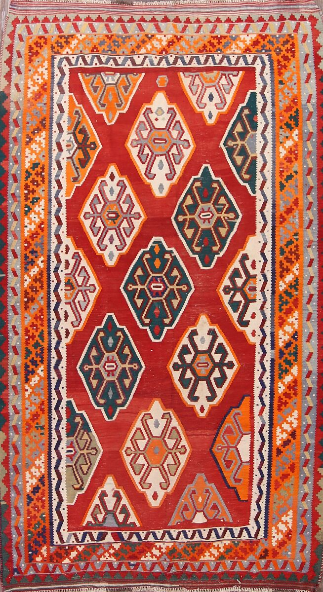 One-of-a-Kind Traditional Kilim Shiraz Persian Hand-Knotted 5'4