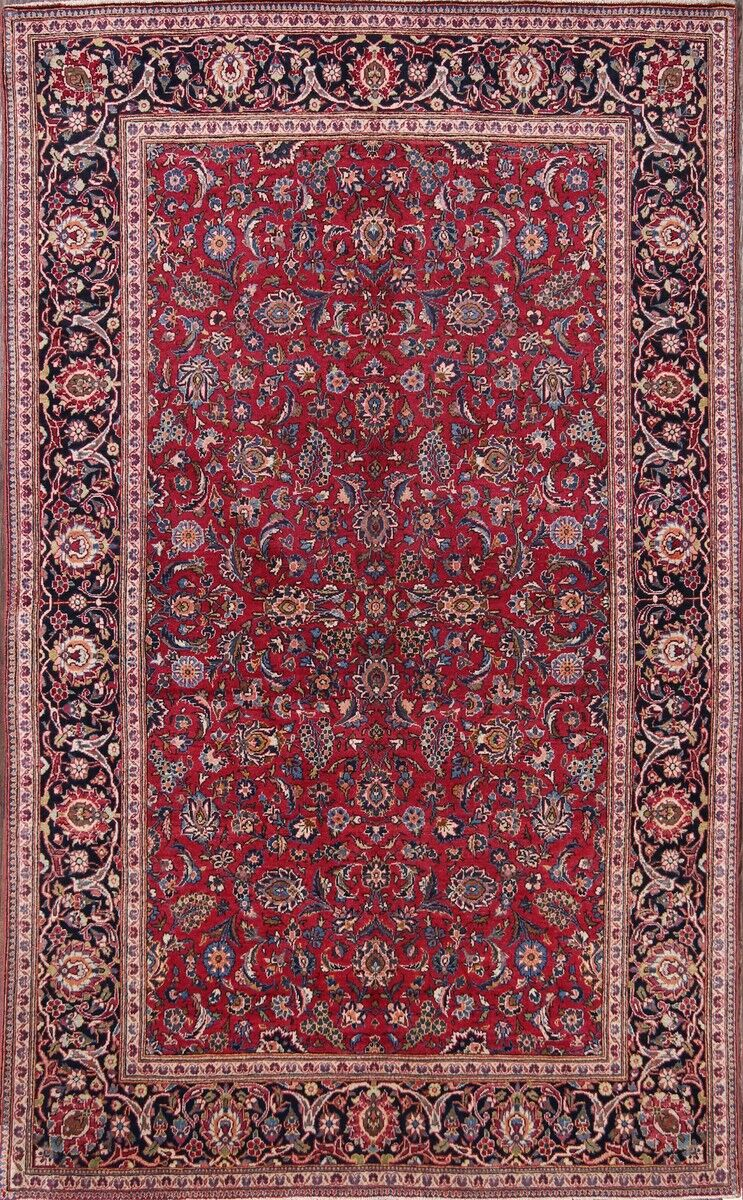One-of-a-Kind Kashan Persian Floral Traditional Hand-Knotted 4'3