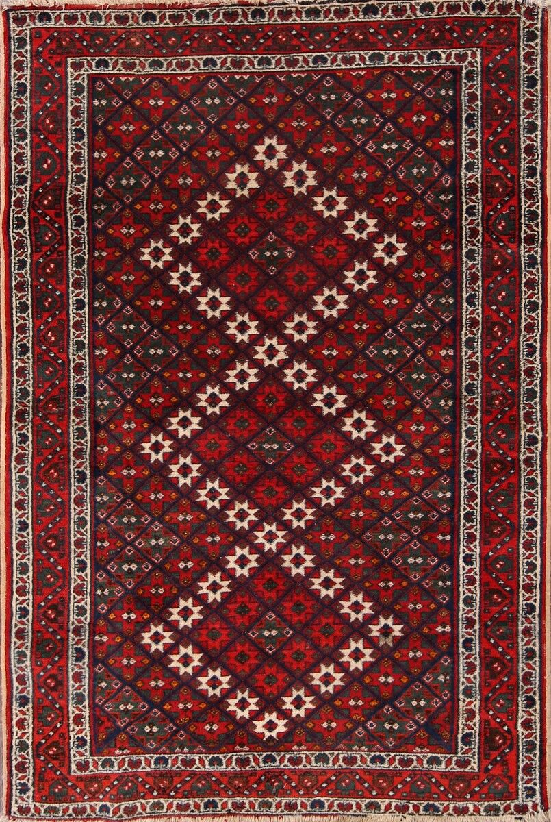One-of-a-Kind Afshar Sirjan Traditional Persian Classical Hand-Knotted 3'4