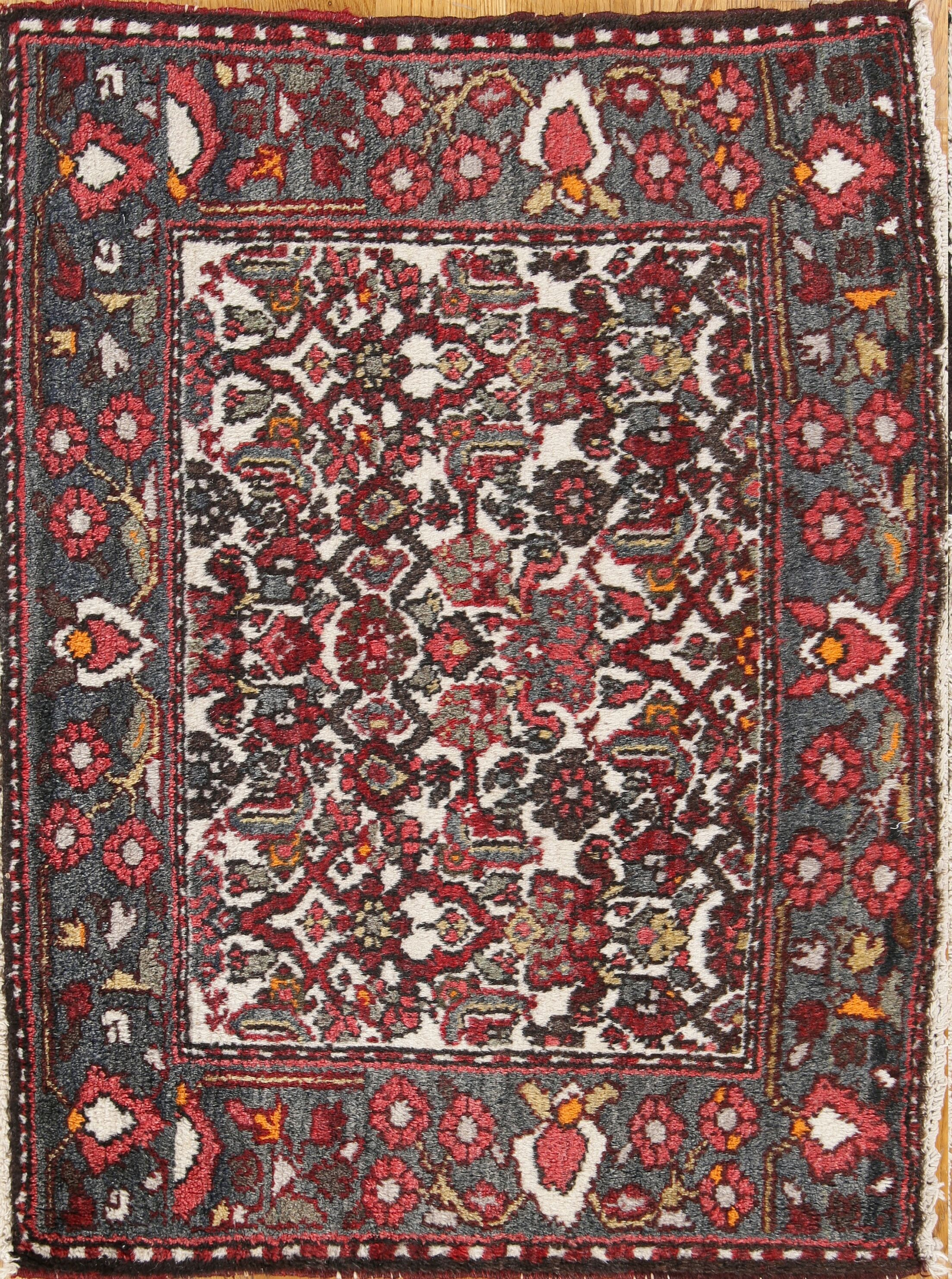 One-of-a-Kind Traditional Bakhtiari Persian Hand-Knotted 2' x 2'7'' Wool Gray/Burgundy Area Rug