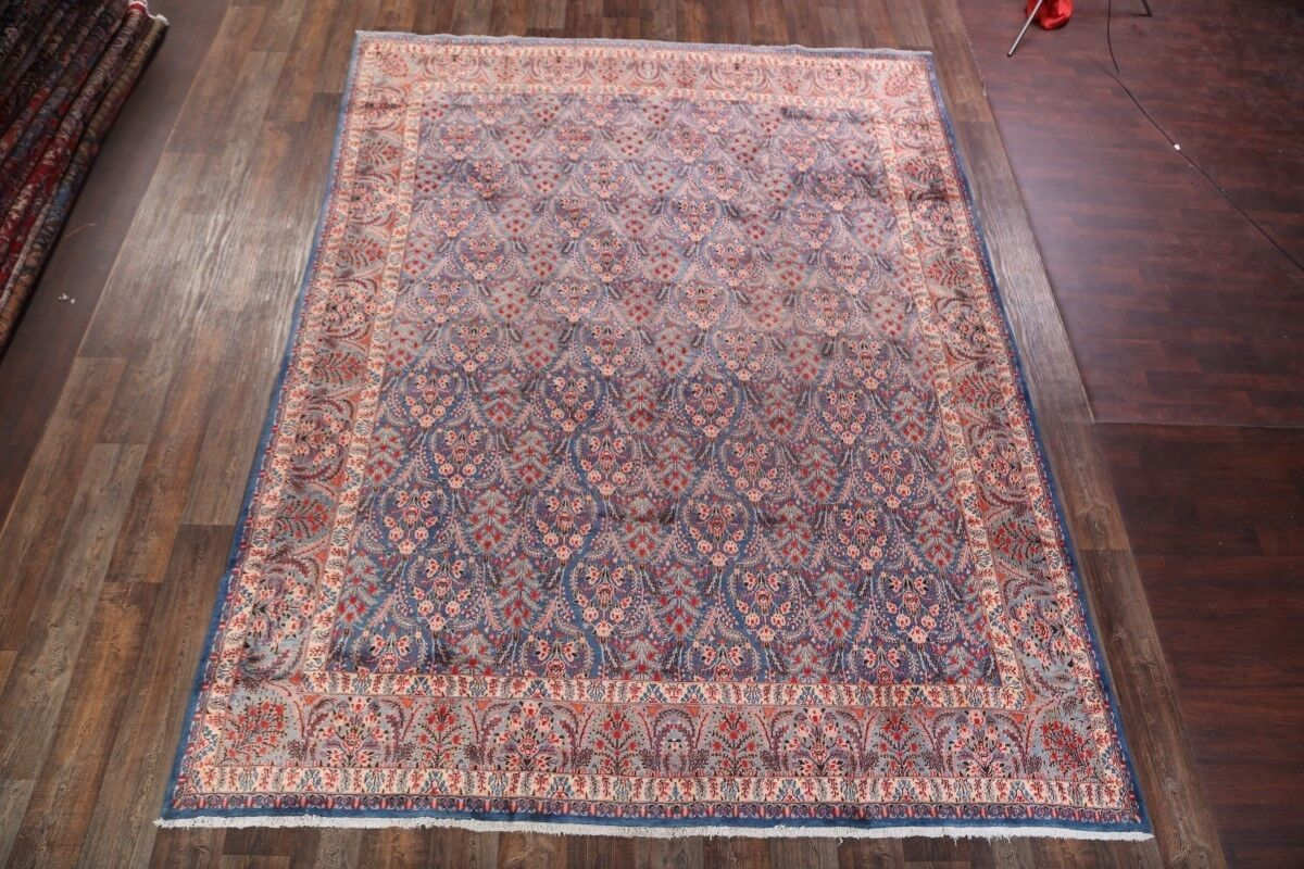One-of-a-Kind Traditional Geometric Mood Persian Hand-Knotted 9'8