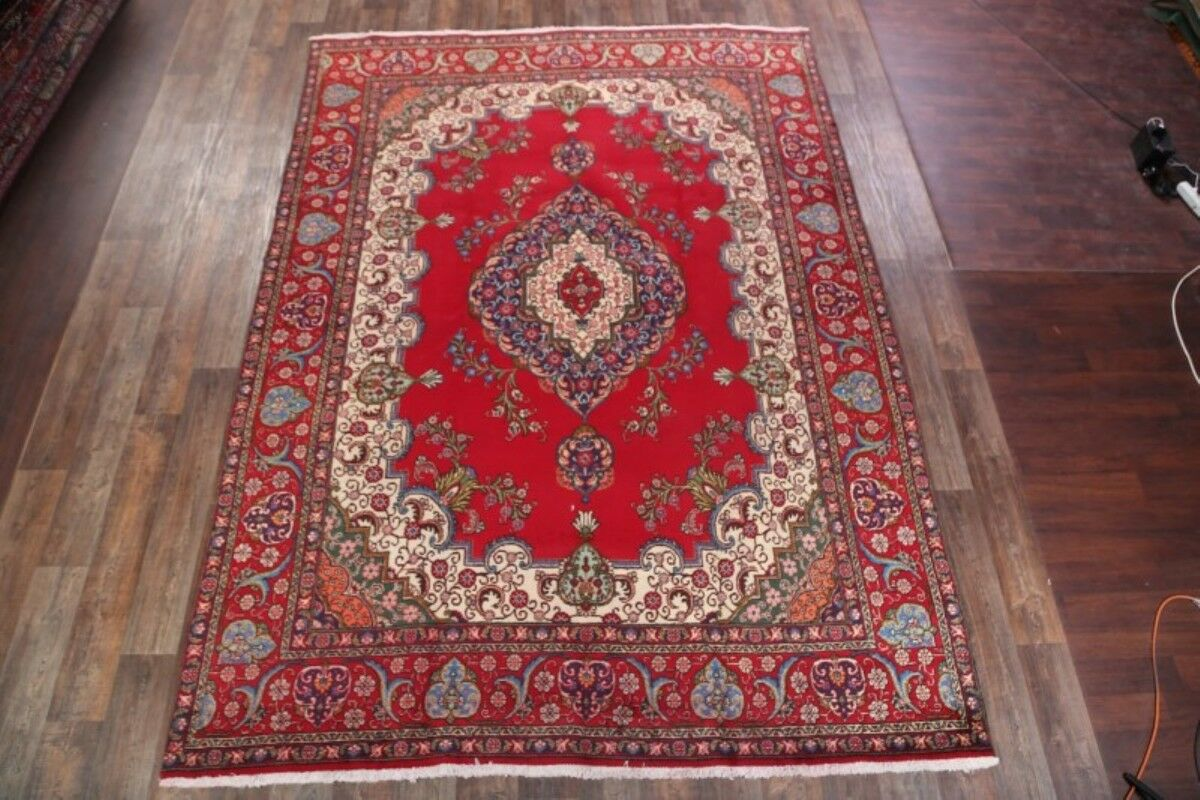 One-of-a-Kind Traditional Tabriz Persian Hand-Knotted 9'4