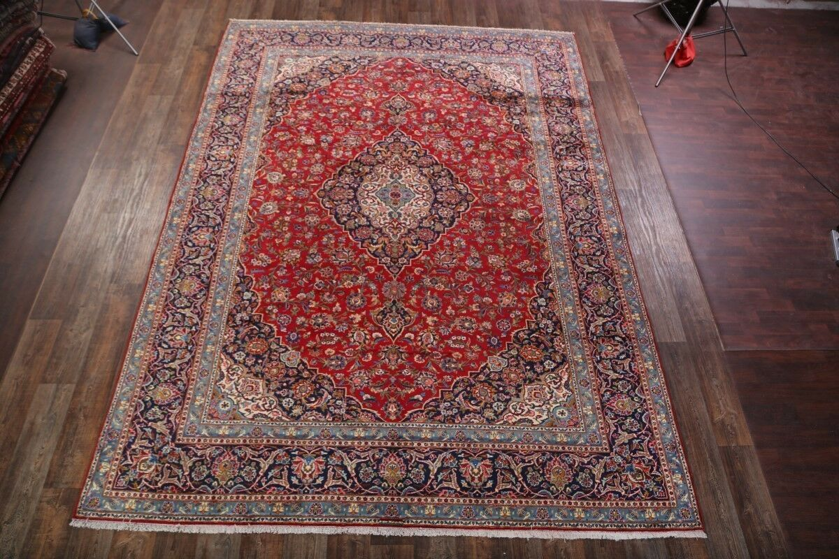 One-of-a-Kind Kashan Persian Traditional Hand-Knotted 9'9