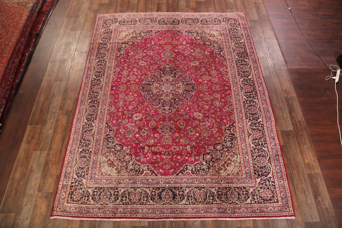 One-of-a-Kind Mashad Persian Hand-Knotted 9'3