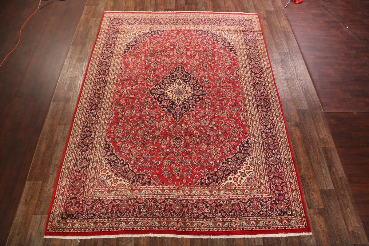 One-of-a-Kind Traditional Mashad Persian Hand-Knotted 9'10
