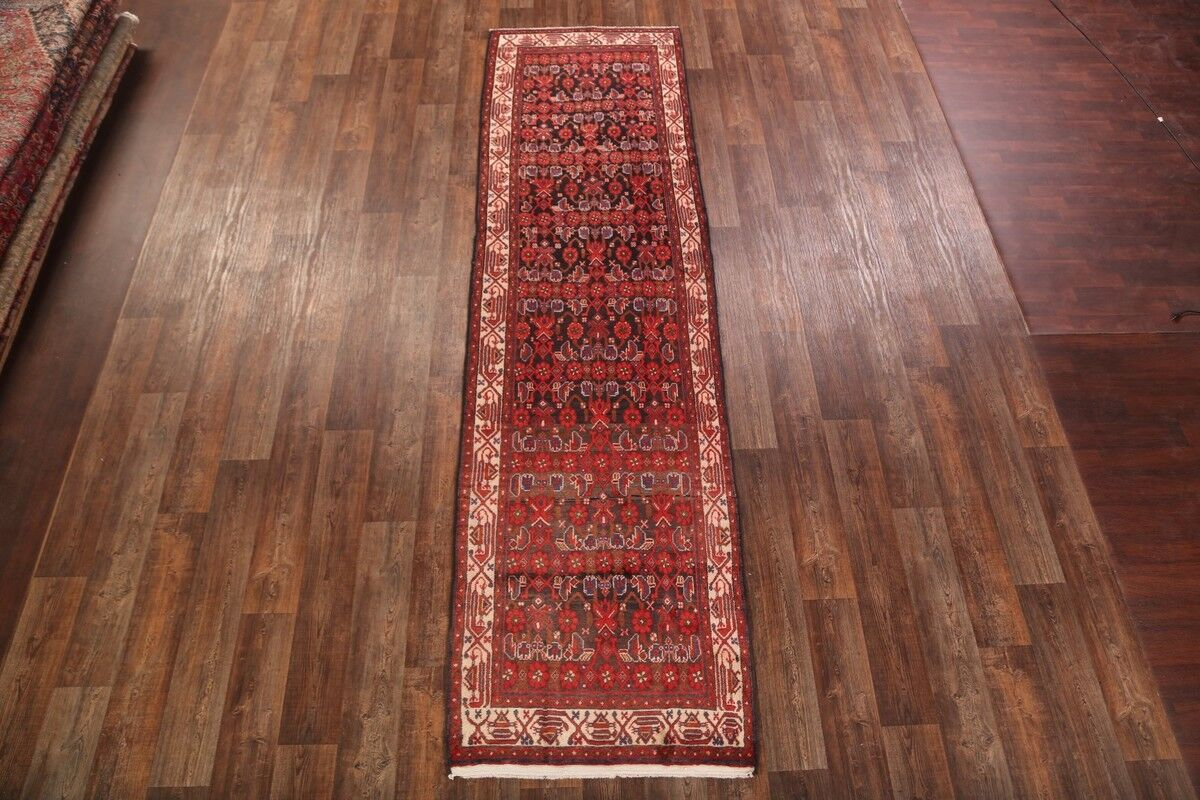 One-of-a-Kind Hamedan Classical Vintage Persian Hand-Knotted 3'7