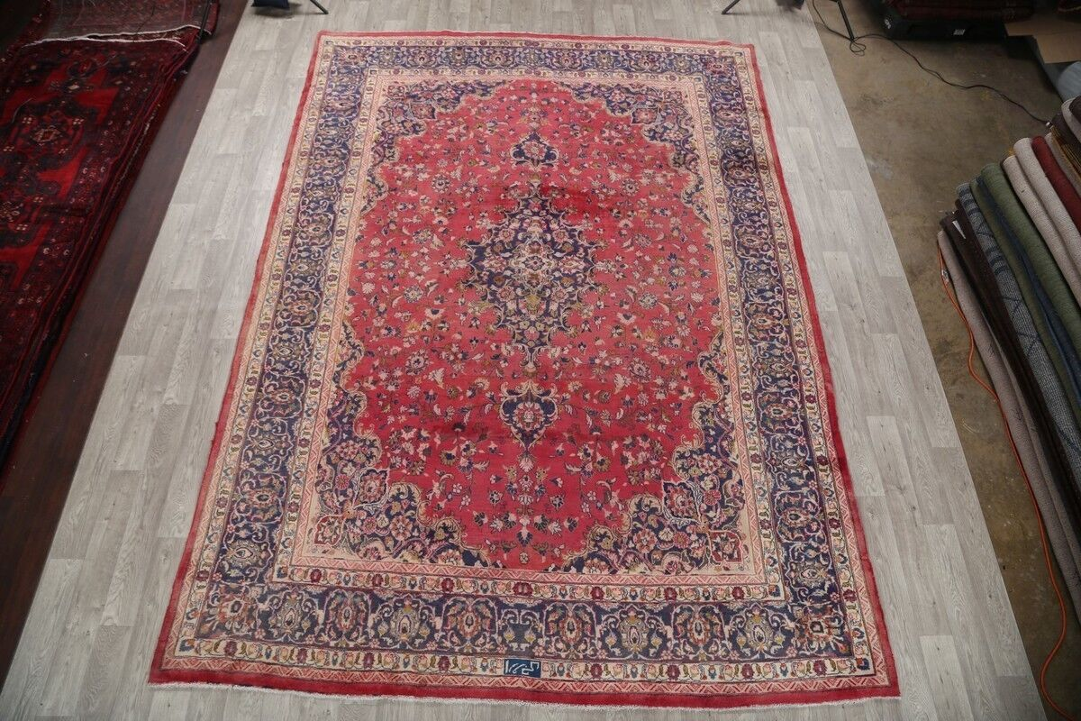 One-of-a-Kind Classical Vintage Signed Mashad Persian Traditional Hand-Knotted 9'5