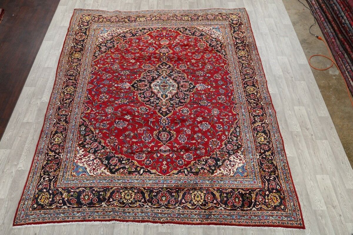 One-of-a-Kind Traditional Floral Kashan Persian Hand-Knotted 9'6