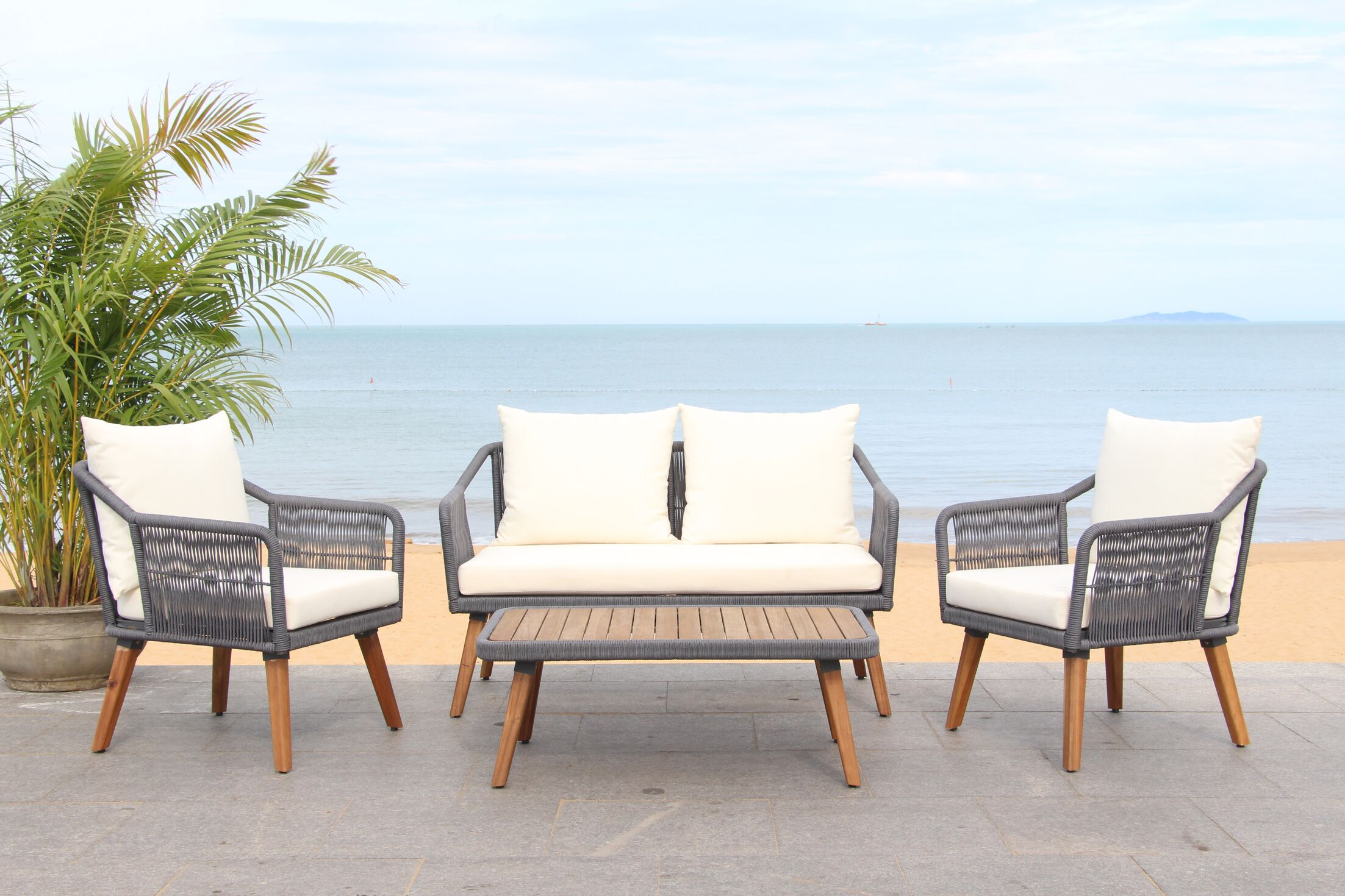Rope 4 Piece Sofa Seating Group Frame Finish: Gray