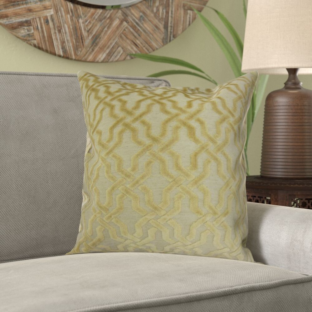 Kirkland Geometric Velvet Pillow Color: Oatmeal, Size: 22