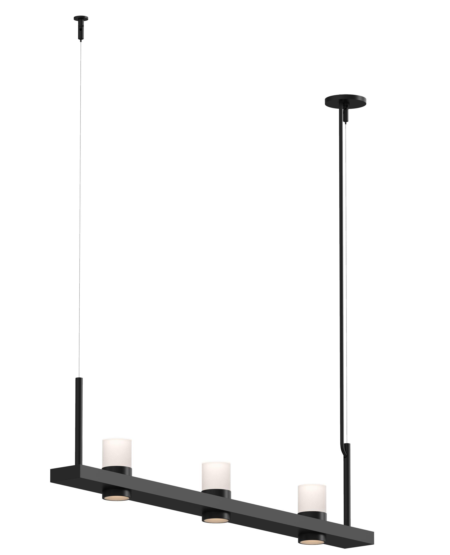 Intervals™ Linear 3-Light LED Kitchen Island Pendant Finish: Satin Black, Shade Color: Clear