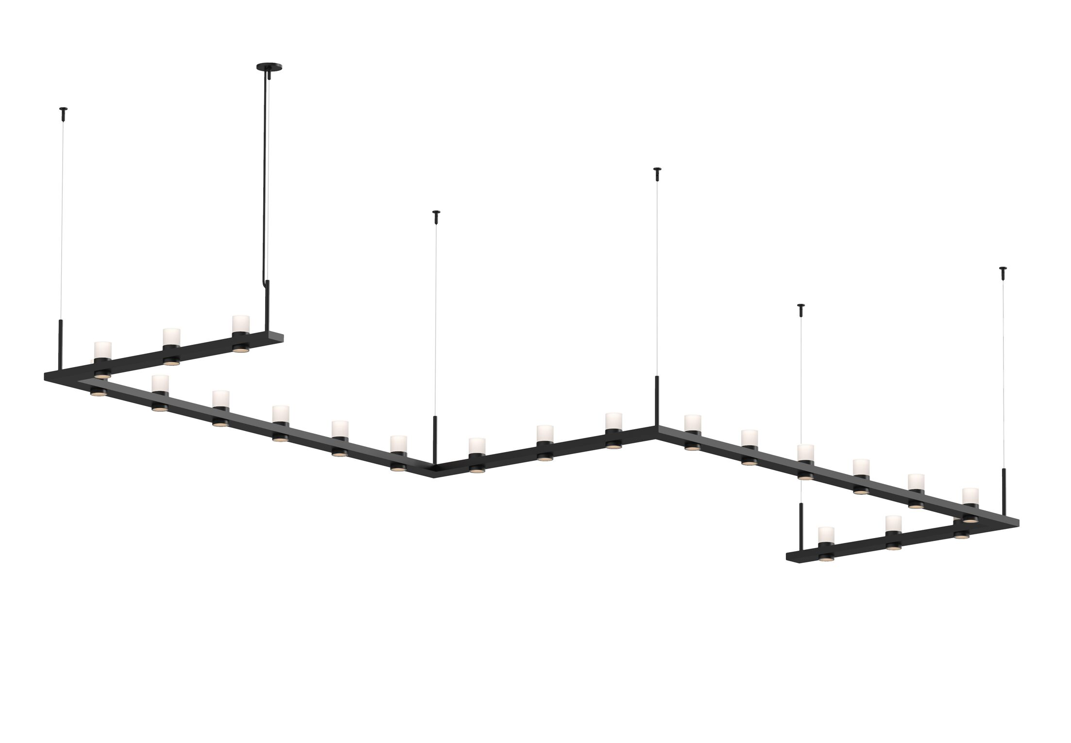 Intervals� Zig-Zag 21-Light LED Kitchen Island Pendant Finish: Satin Black, Shade Style: Etched