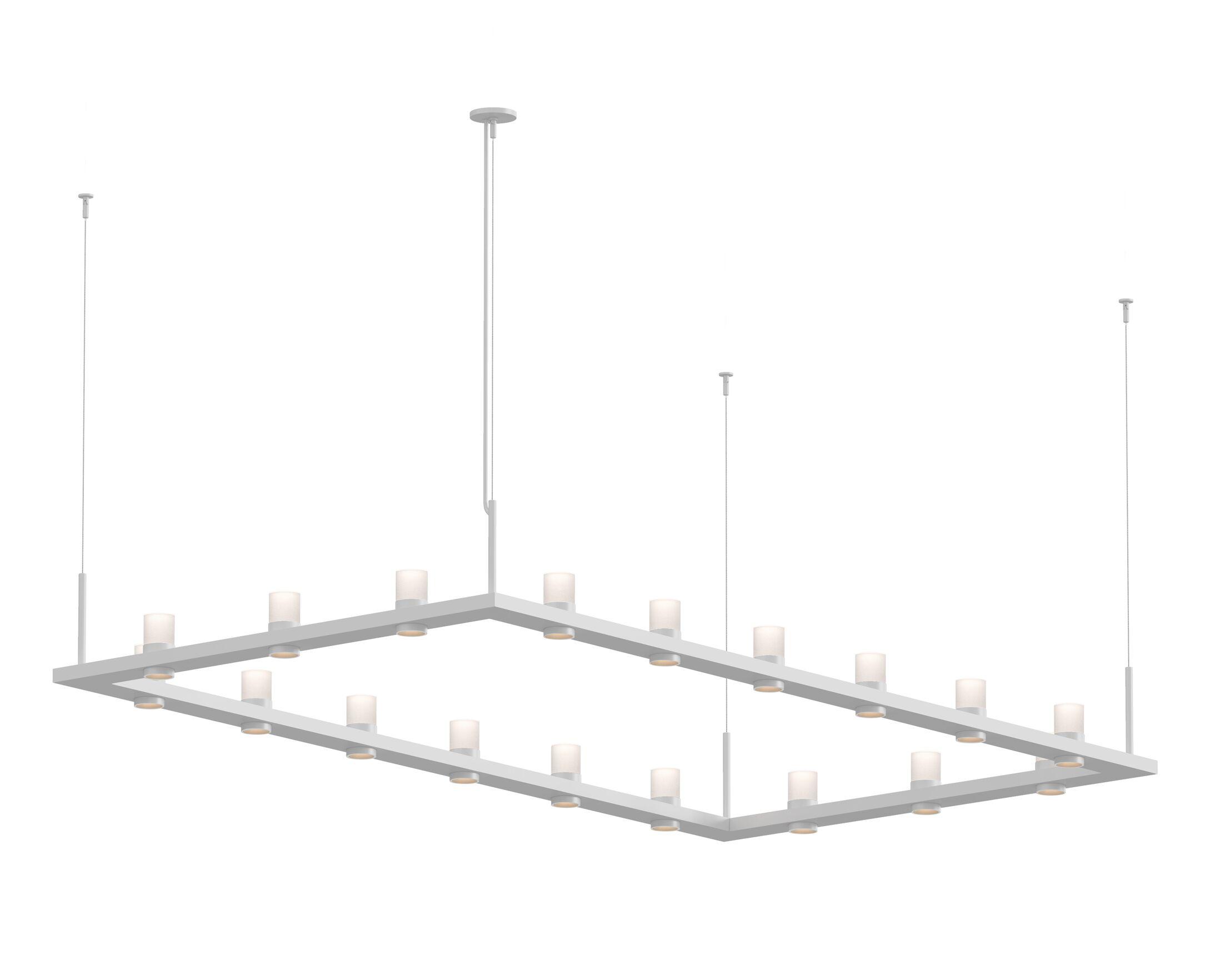 Intervals� 18-Light LED Kitchen Island Pendant Finish: White, Shade Color: Etched