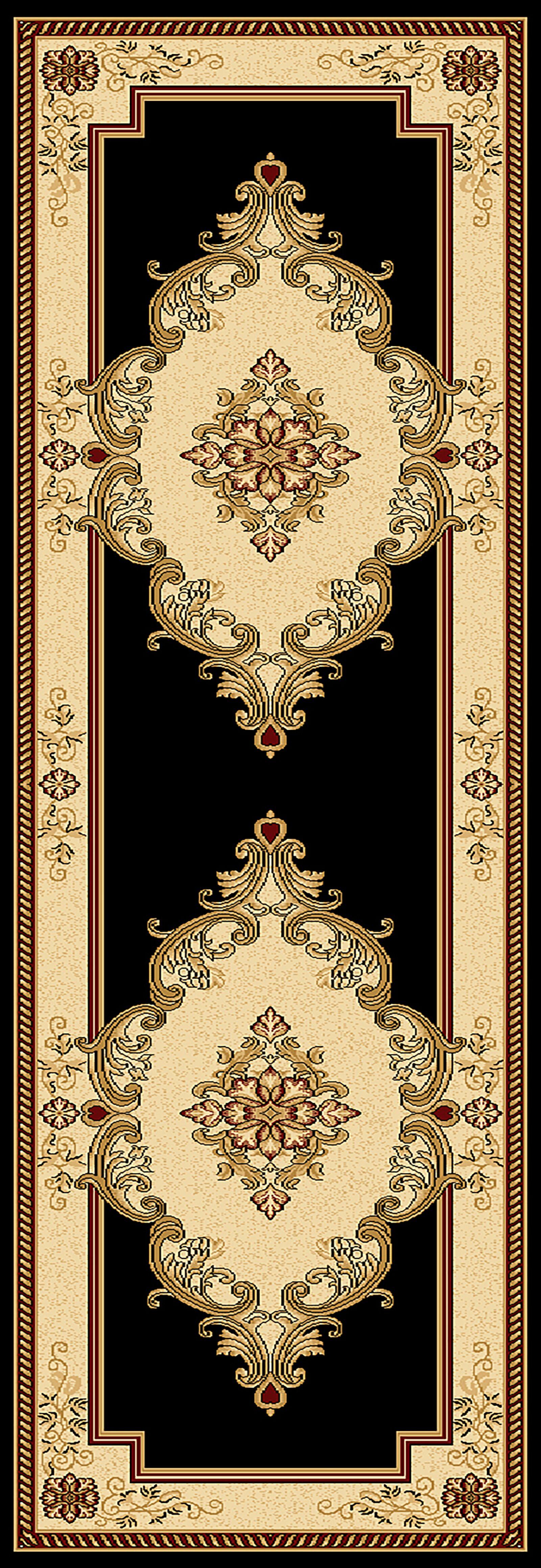 Ramsel 3D Traditional Oriental Floral Black Area Rug Rug Size: Runner 2'6