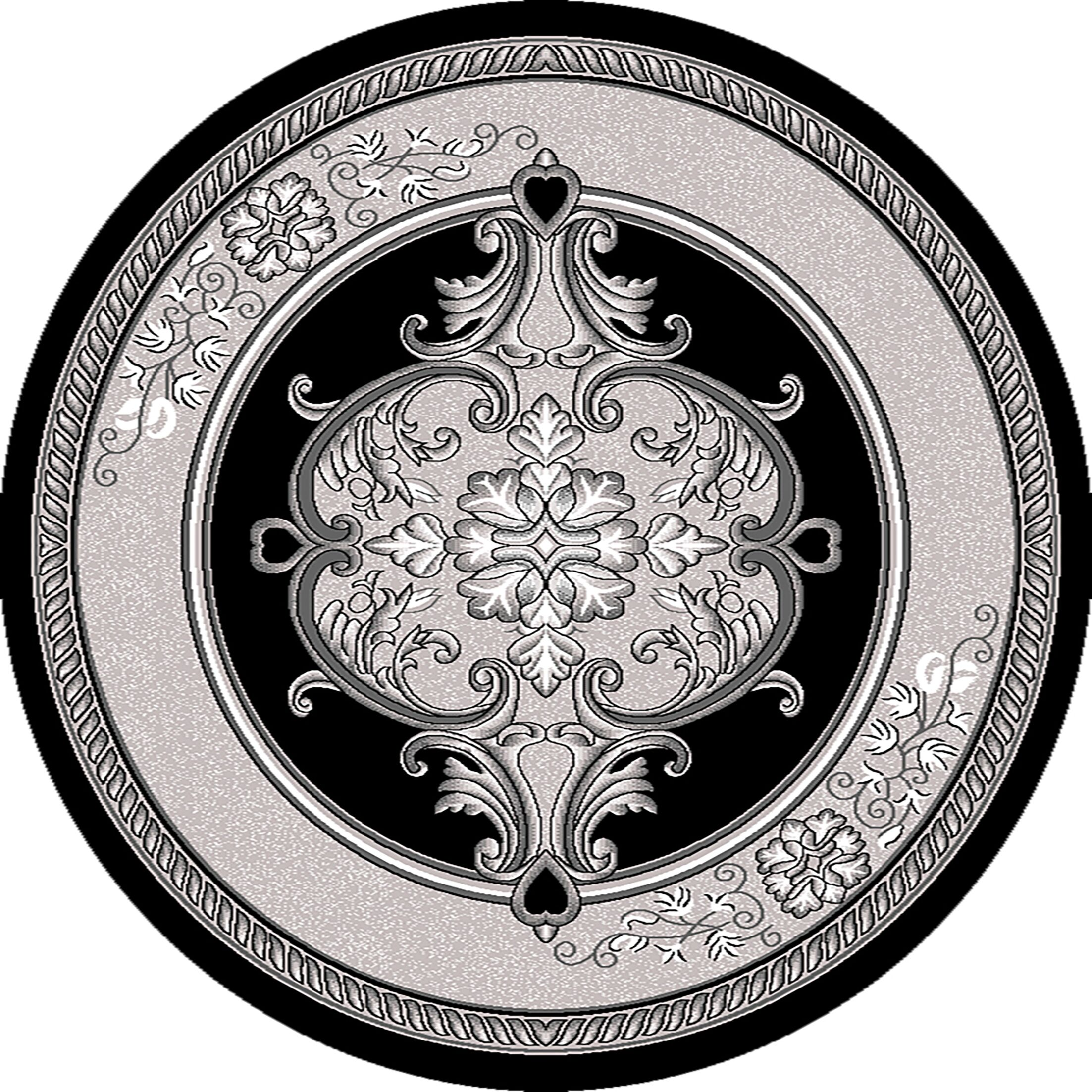Ramsel 3D Traditional Oriental Floral Gray Area Rug Rug Size: Round 5'3