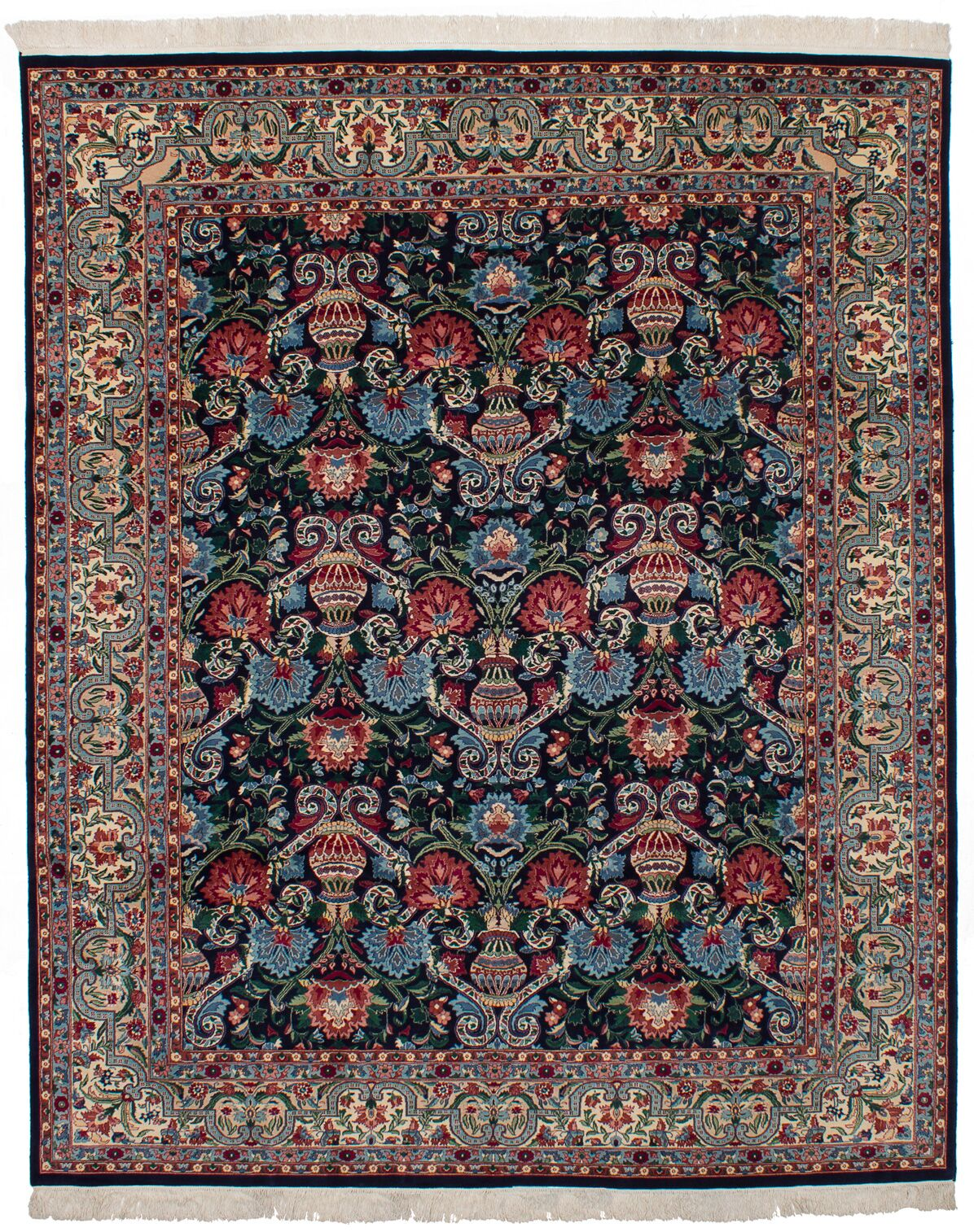 One-of-a-Kind Doctor Hand-Knotted 8' x 10' Wool Dark Navy/Red Area Rug