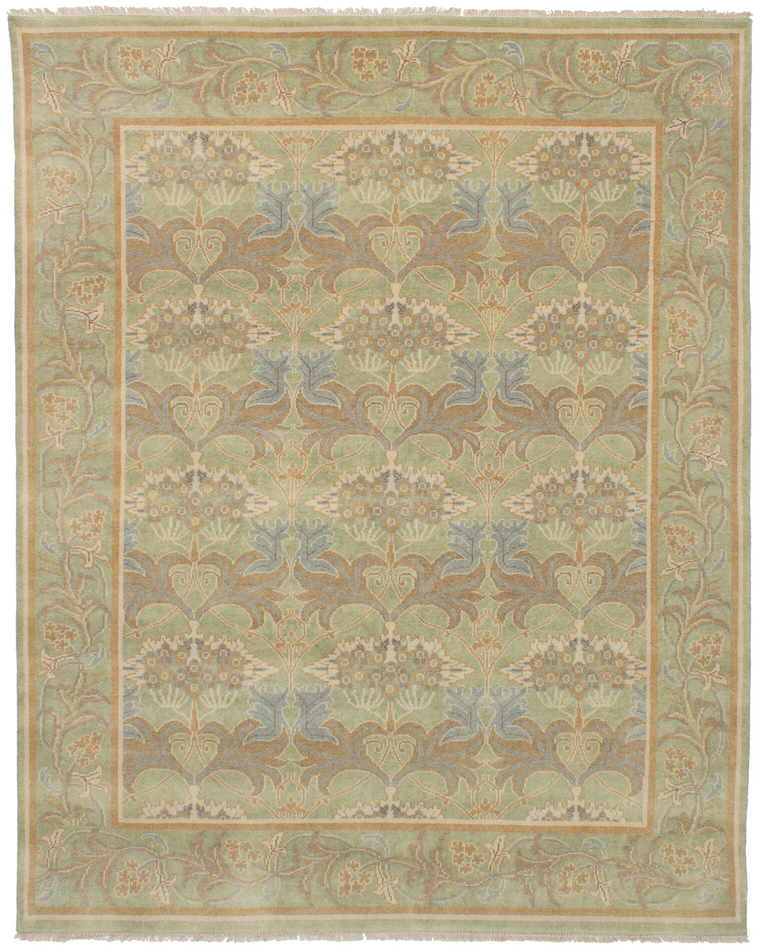 One-of-a-Kind Doggett Hand-Knotted 8' x 10' Wool Green/Brown Area Rug
