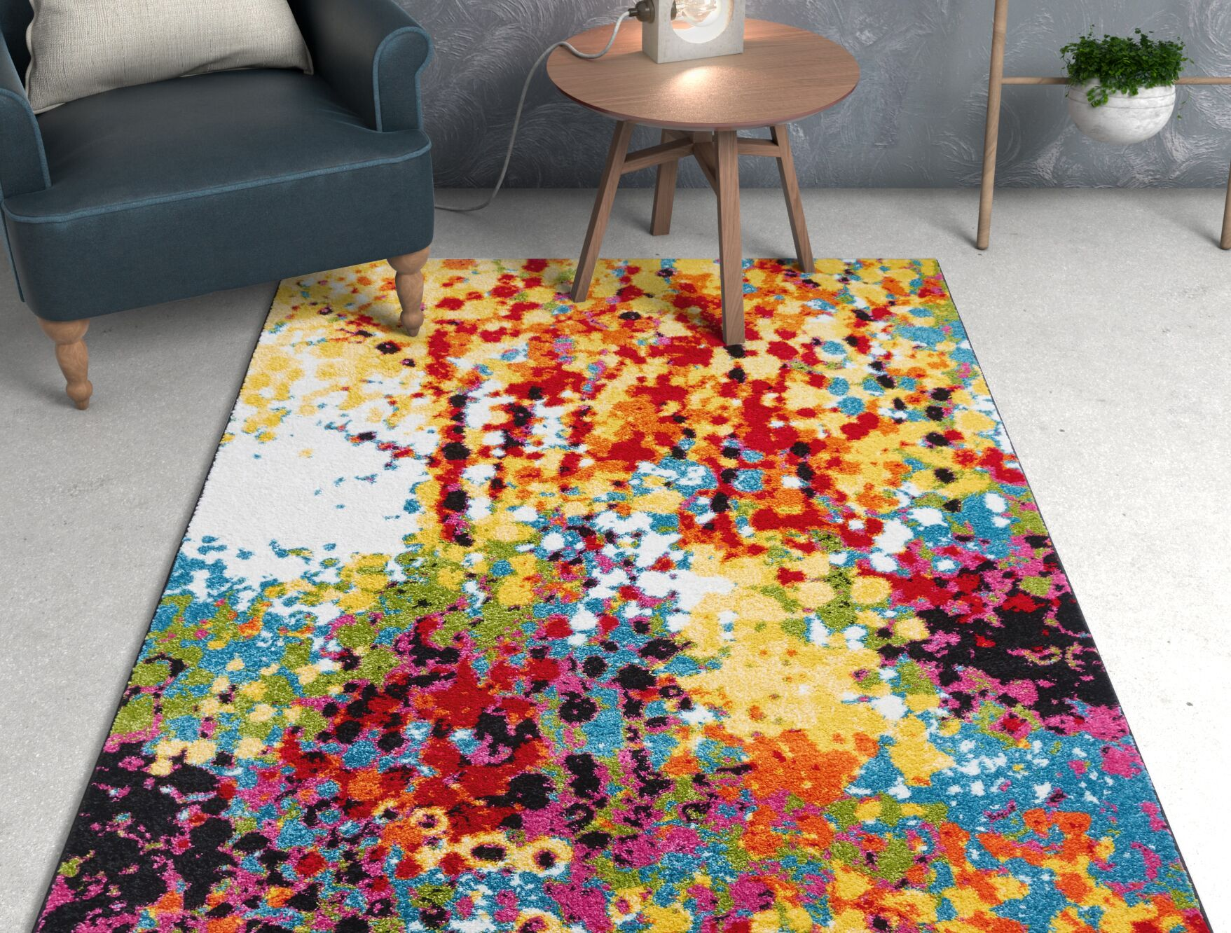 Viva Partridge Abstract Dots Yellow/Red Area Rug Rug Size: Rectangle 9'3