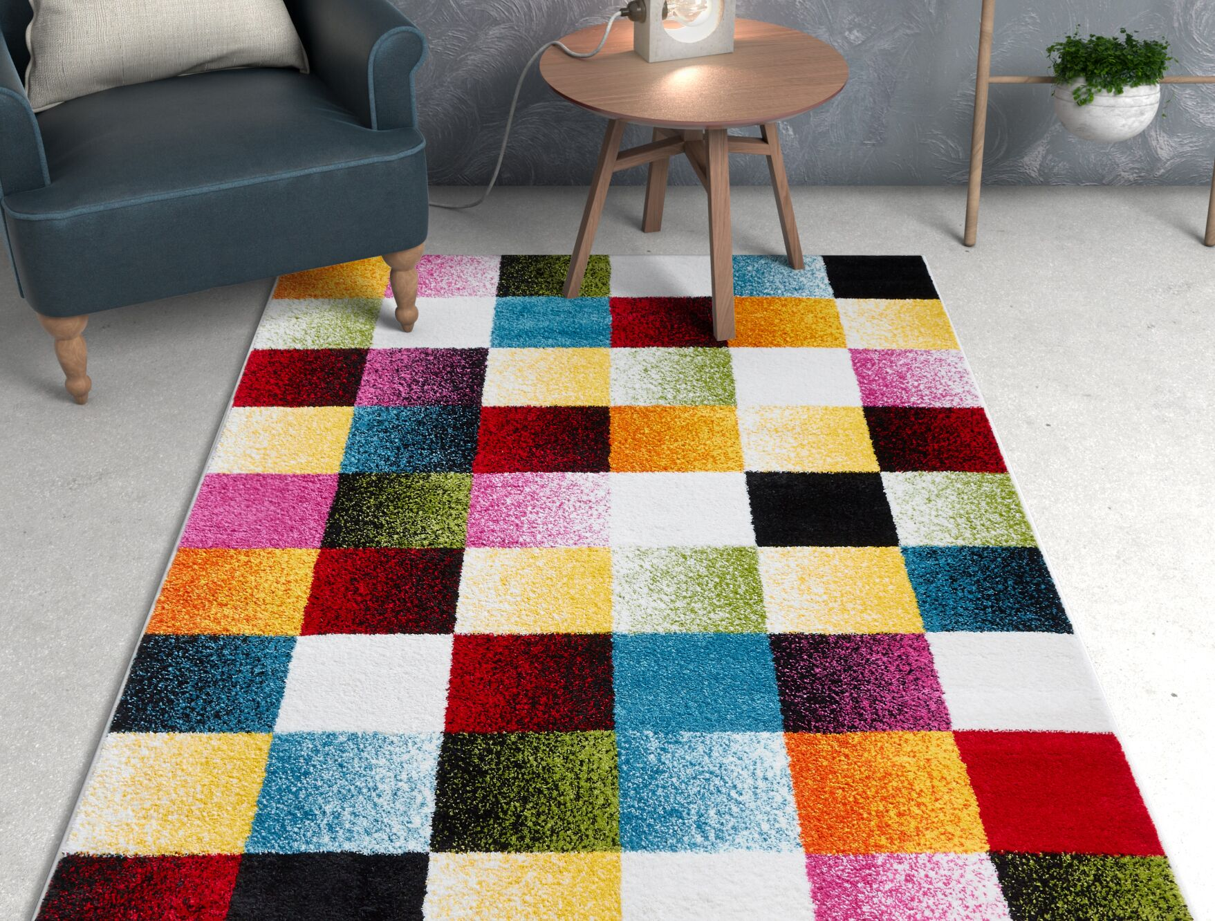 Viva Gateway Squares Yellow/Red/Pink Area Rug Rug Size: Rectangle 7'10