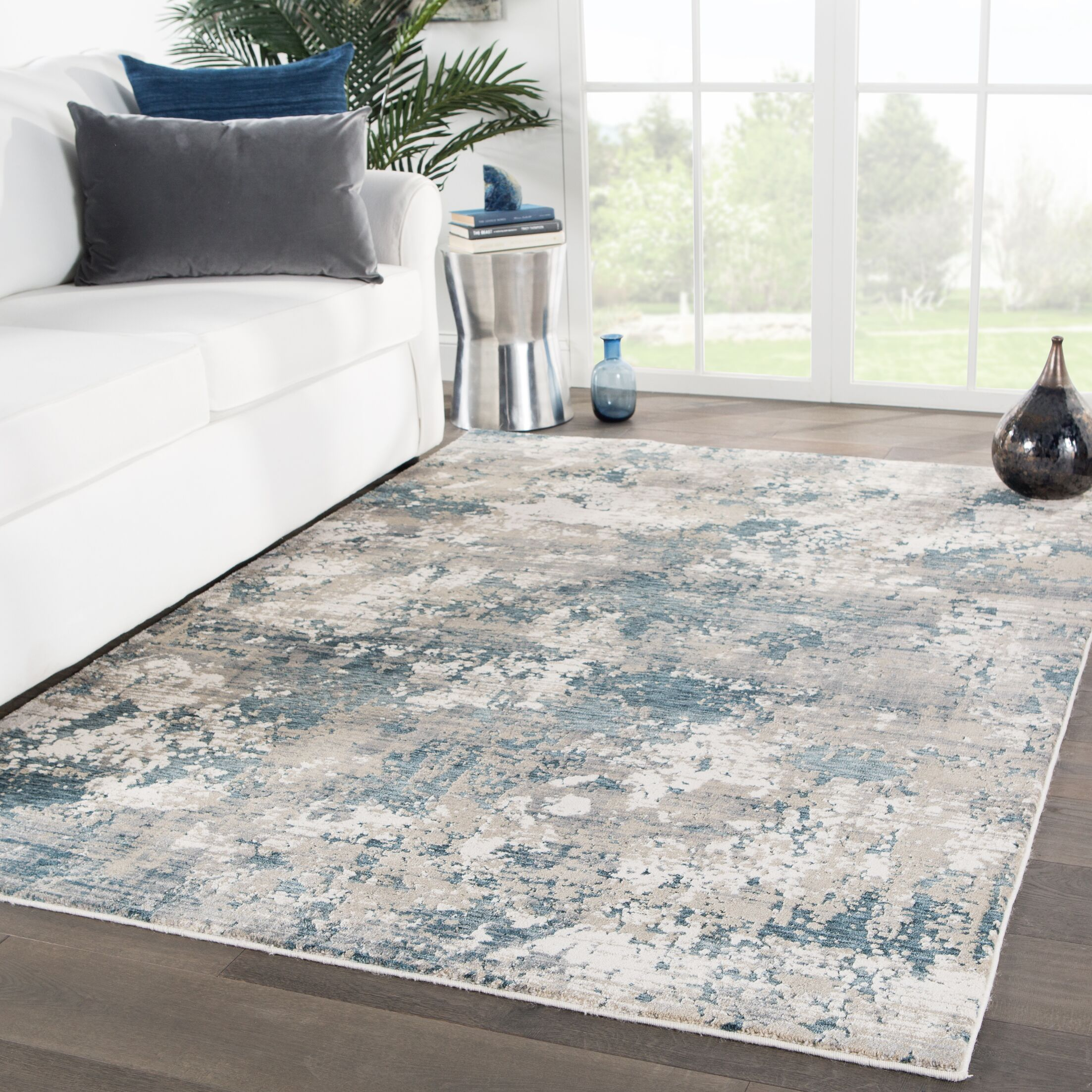 Andrews Abstract Blue/Gray Area Rug Rug Size: Rectangle 4' x 5'7