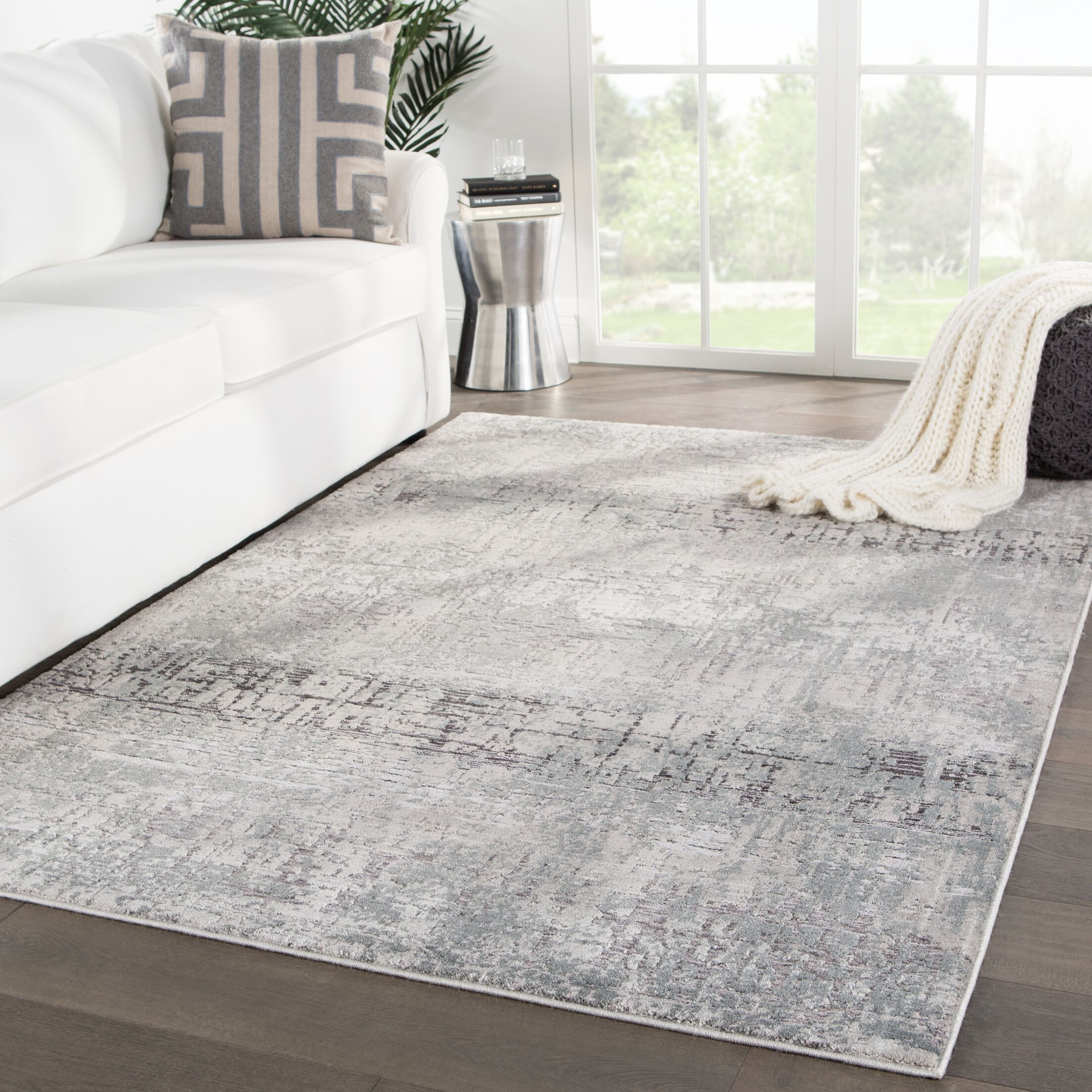 Raunds Abstract Gray Area Rug Rug Size: Rectangle 5'3