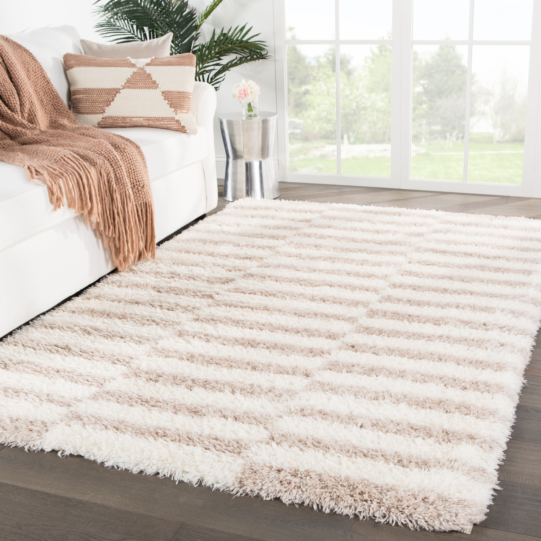 Taconite Stripes Ivory/Brown Area Rug Rug Size: Rectangle 4' x 6'
