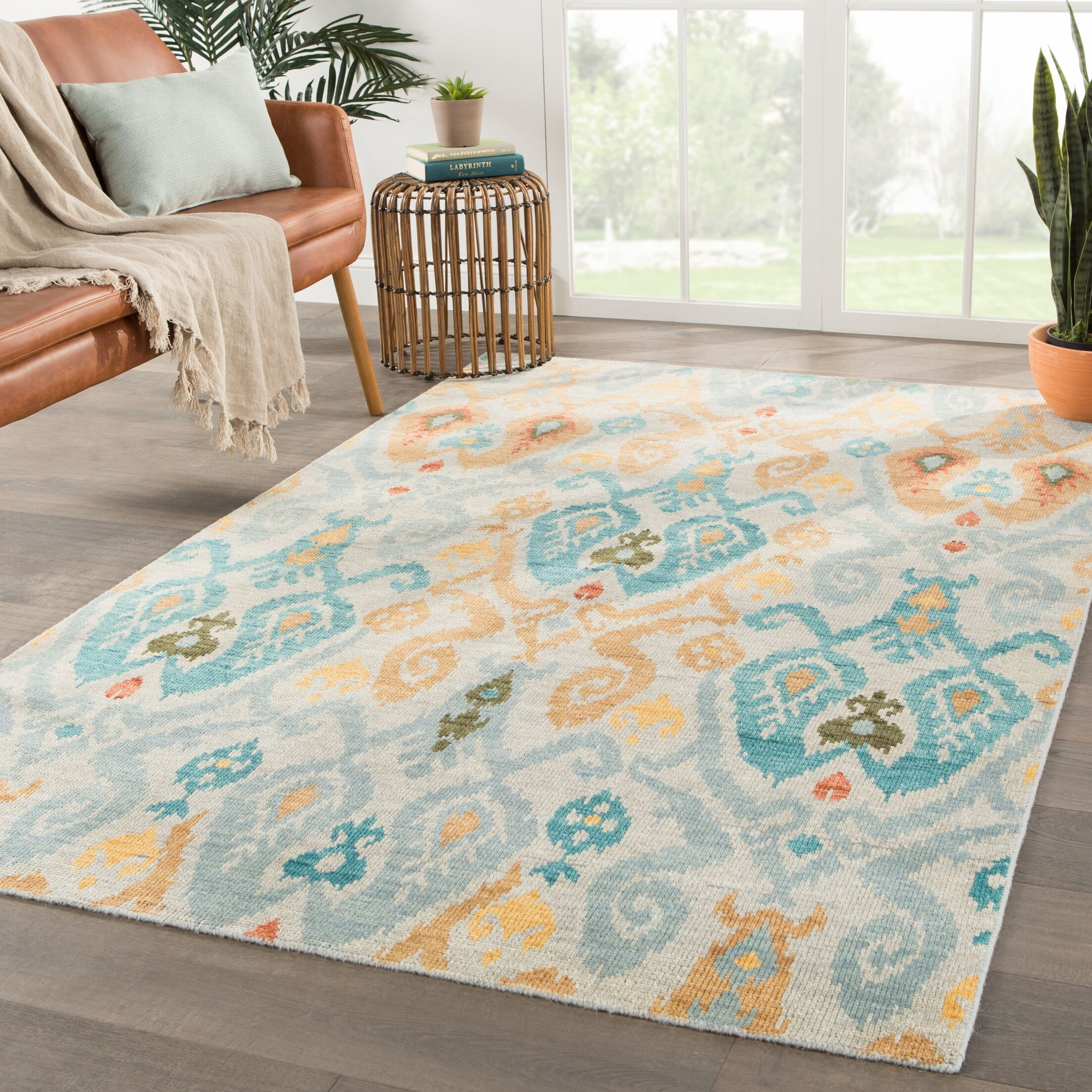 Norwalk Ikat Hand-Knotted Wool Blue/Yellow Area Rug Rug Size: Rectangle 5'6