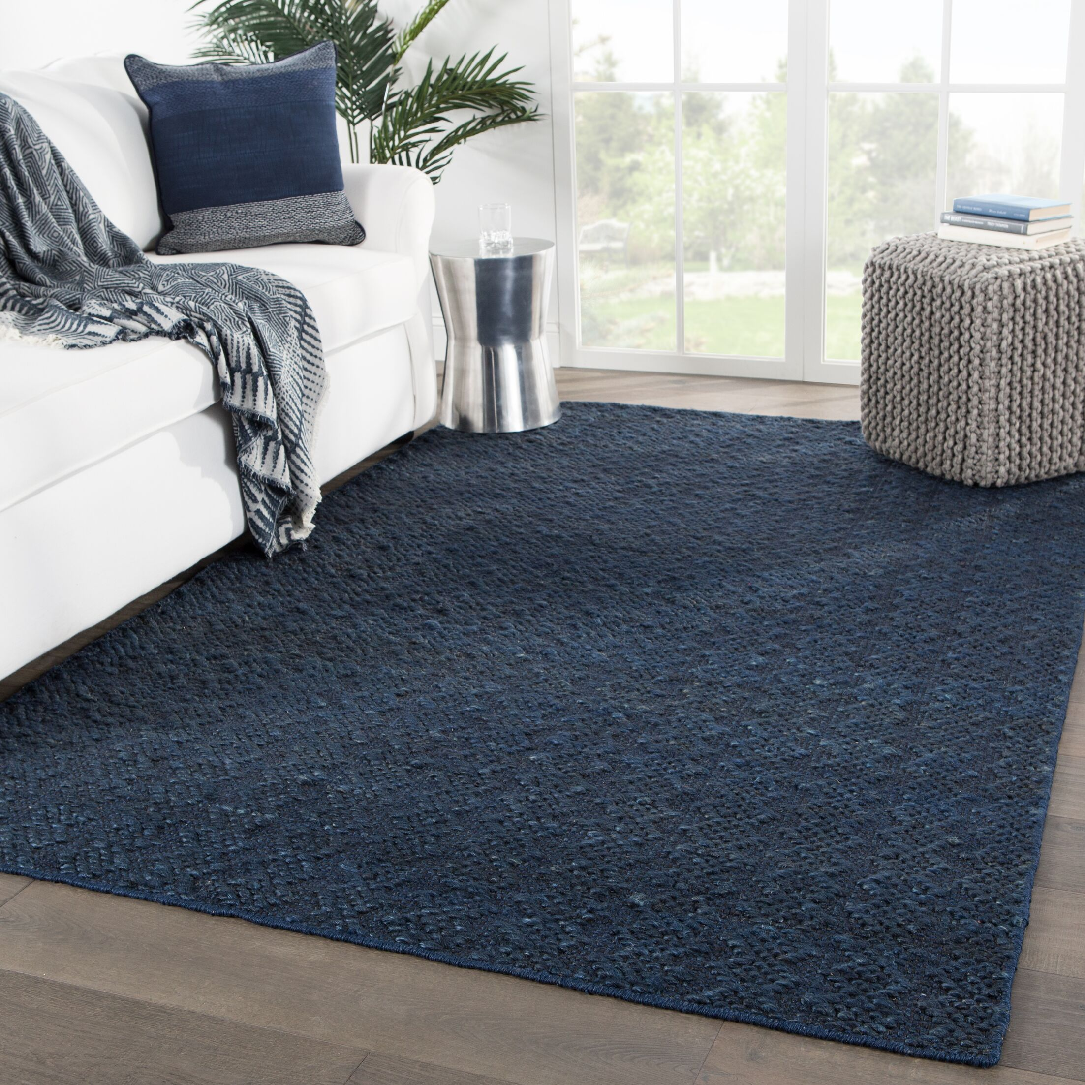 New Fairfield Natural Handwoven Flatweave Blue Area Rug Rug Size: Rectangle 7'10