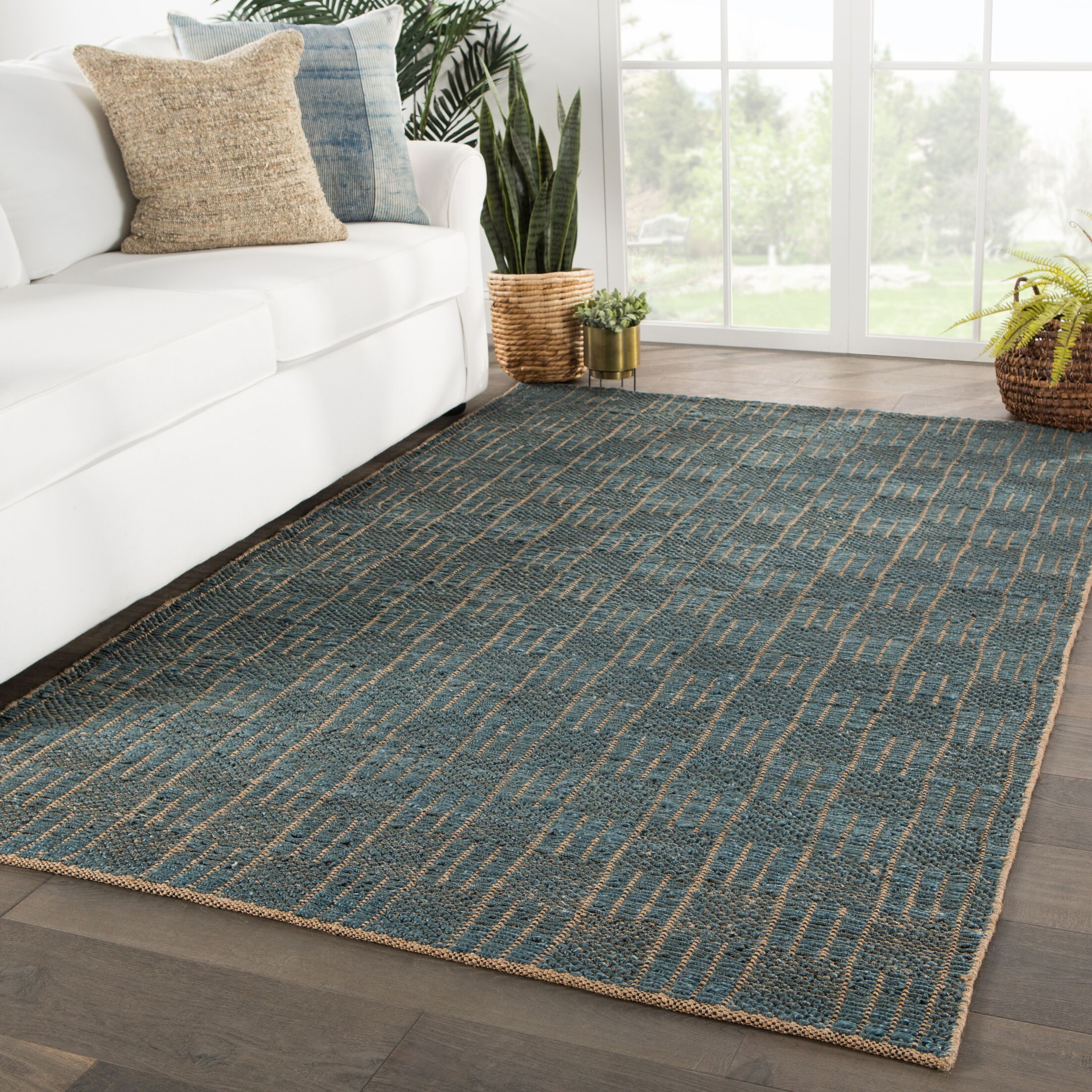 Fargo Natural Geometric Handwoven Flatweave Beige/Blue Area Rug Rug Size: Rectangle 5' x 8'