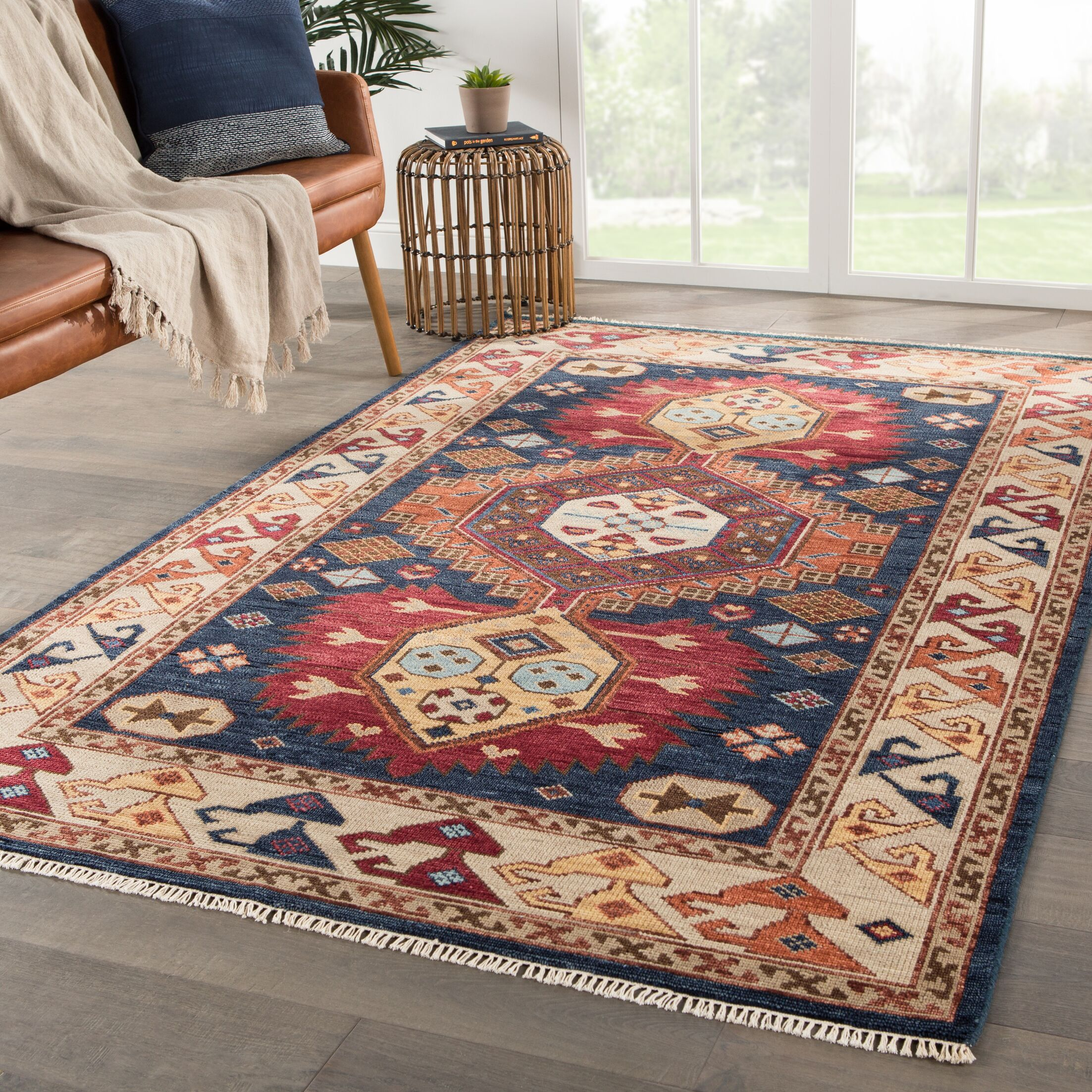 Twyla Medallion Hand-Knotted Wool Blue/Red Area Rug Rug Size: Rectangle 5'6