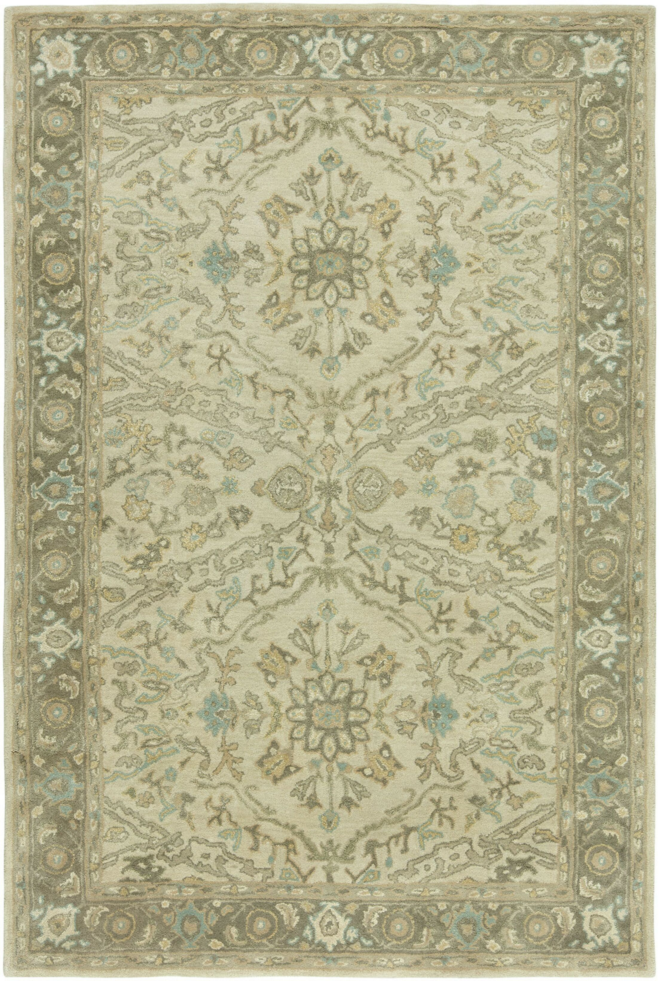 Stanley Hand-Tufted Wool Ivory Area Rug Rug Size: Rectangle 5'6