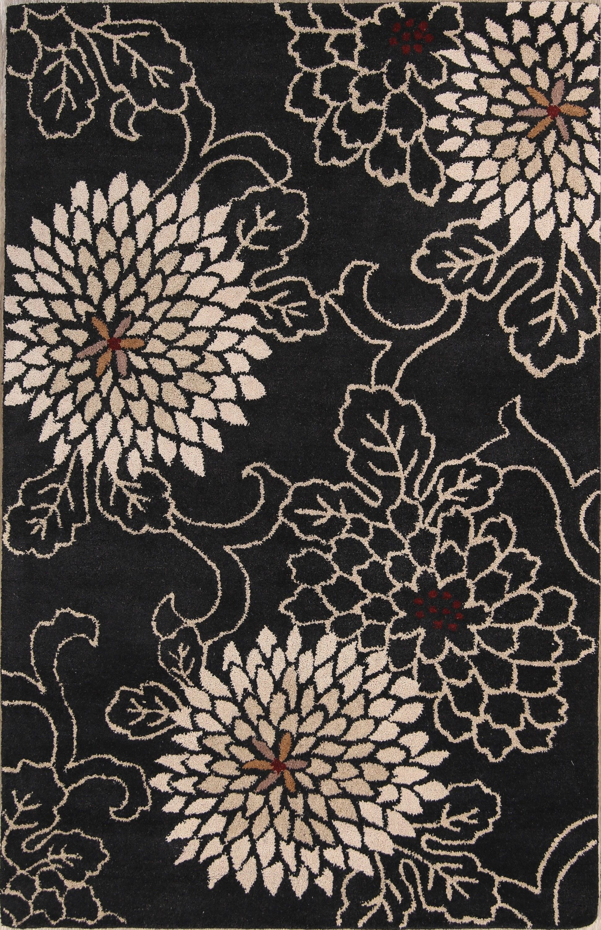 One-of-a-Kind Reign Transitional Hand-Tufted Wool Black Area Rug Rug Size: Rectangle 5