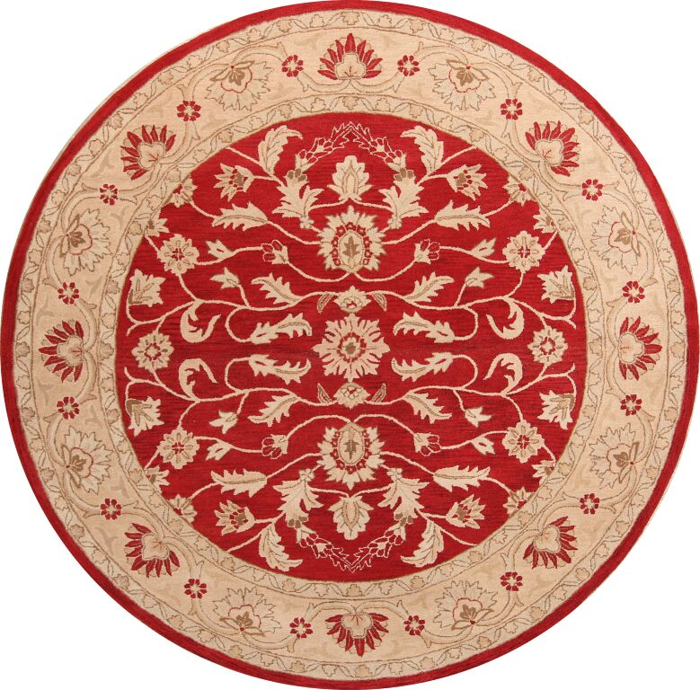 One-of-a-Kind Bentlee Hand-Tufted Wool Red/Beige Area Rug Rug Size: Round 10