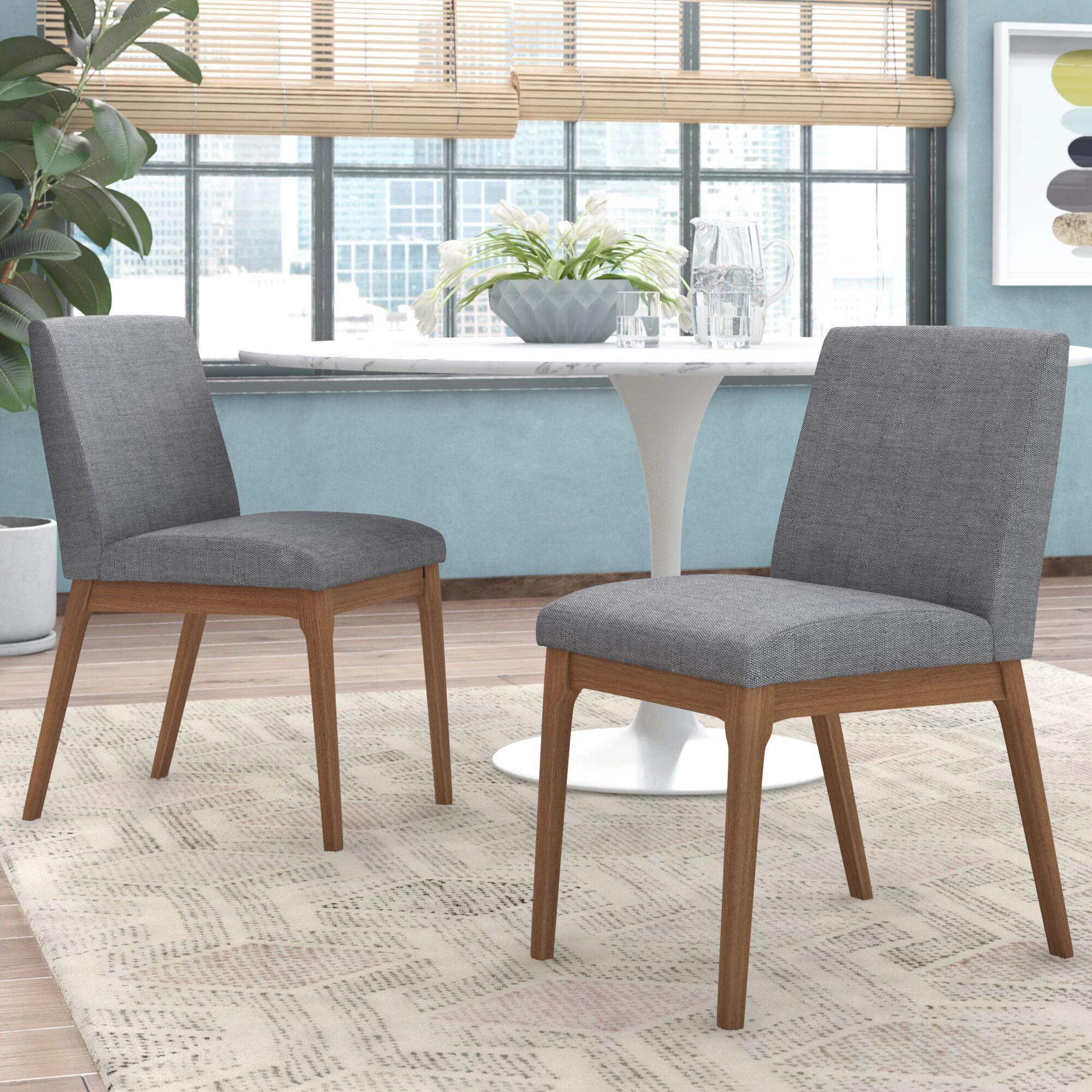 Alden Side Chair Upholstery Color: Light Beige, Color: Natural Walnut