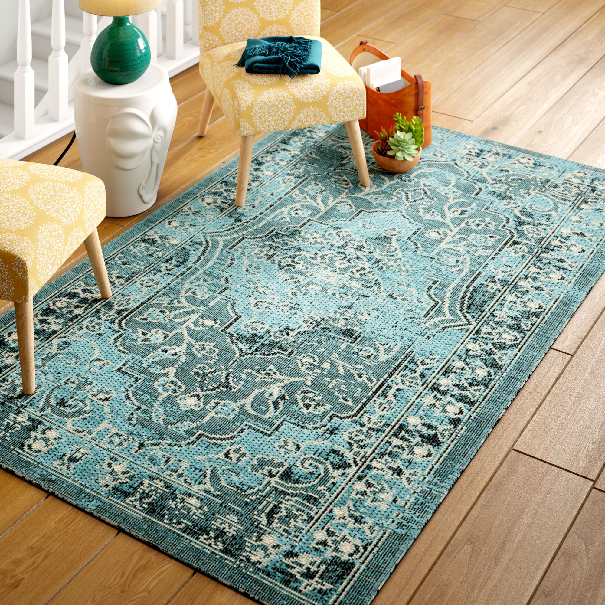 Port Laguerre Turquoise Area Rug Rug Size: Rectangular 8' x 11'