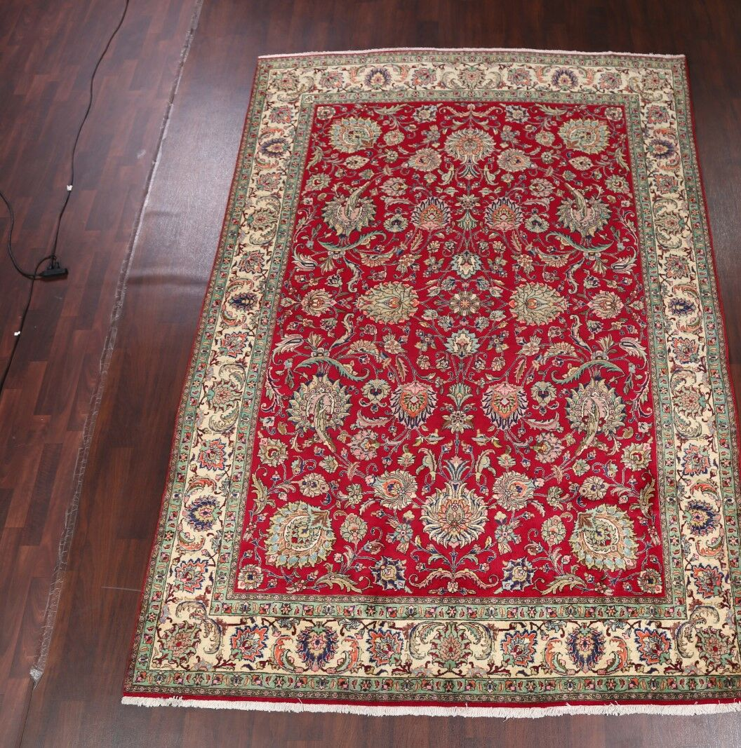 One-of-a-Kind Tabriz Vintage Persian Traditional Hand-Knotted 7'10