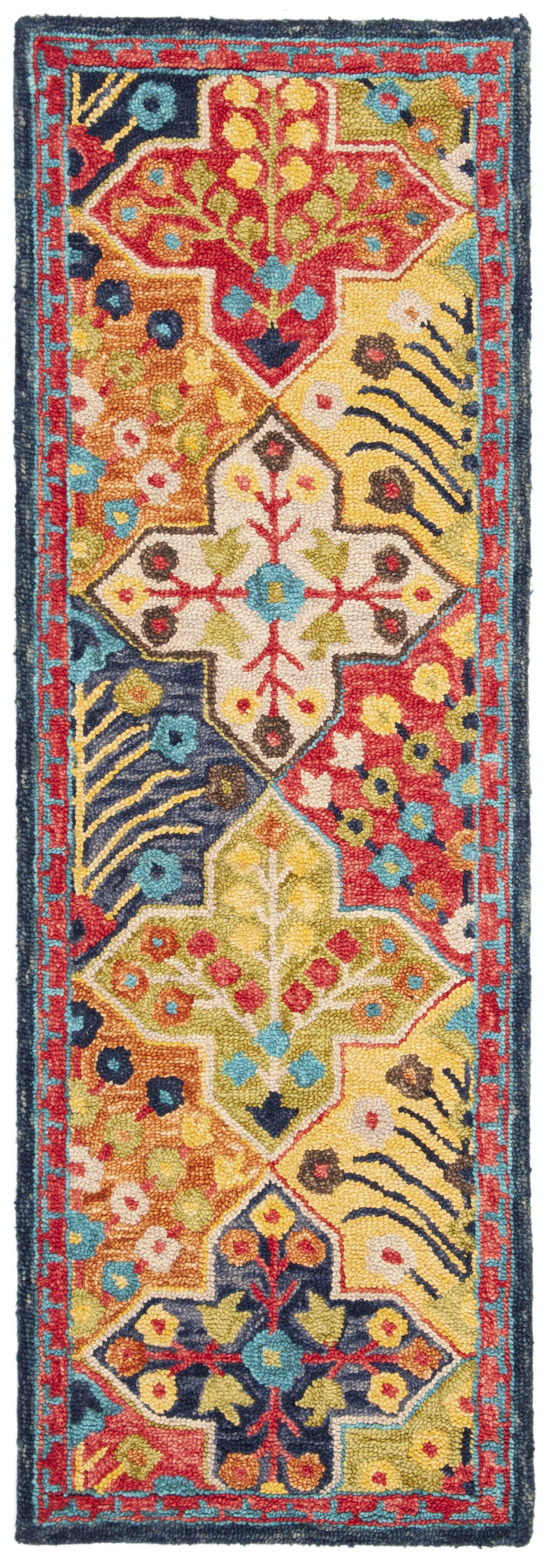 Poulin Hand-Tufted Wool Blue/Orange Area Rug Rug Size: Runner 2'3
