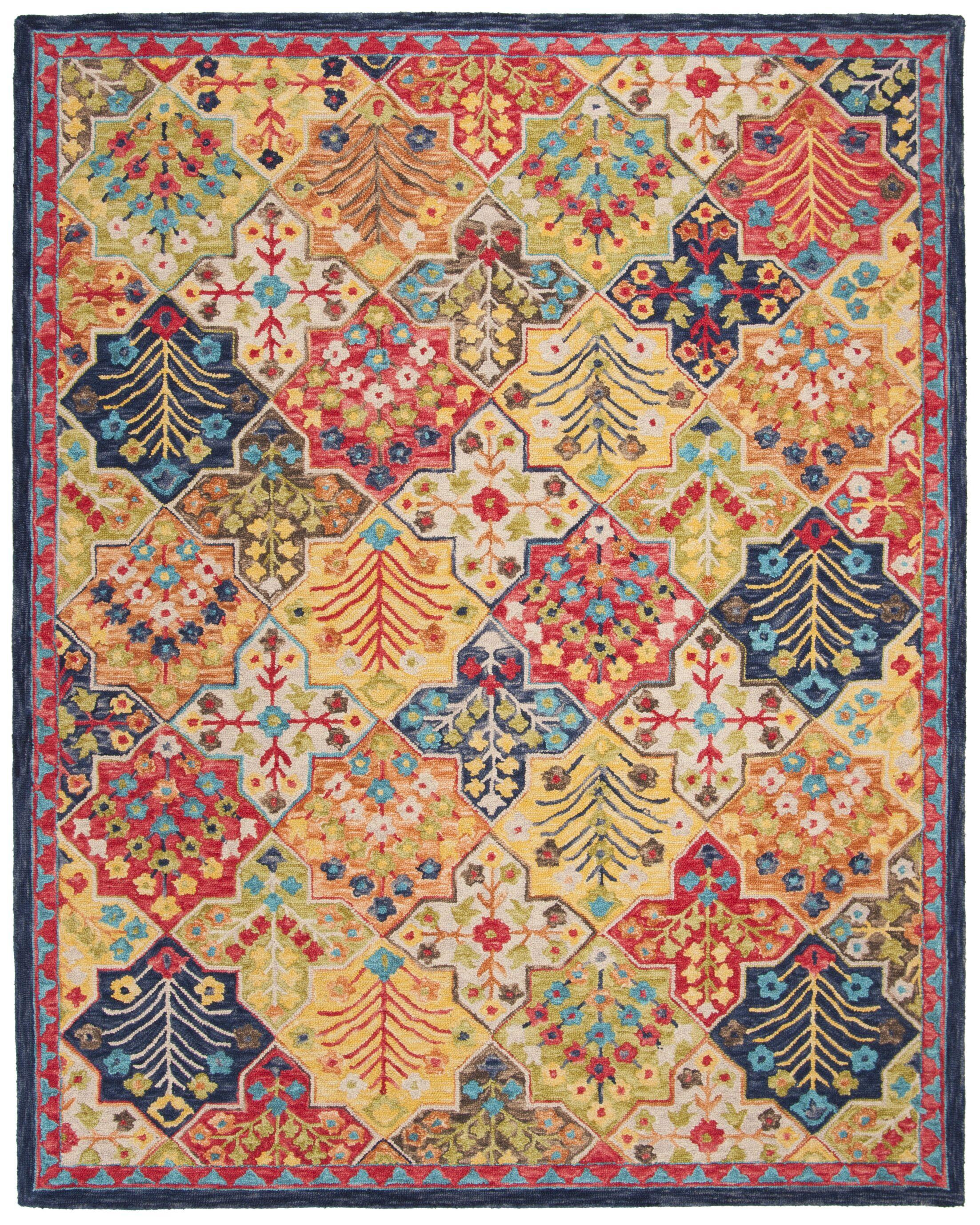 Poulin Hand-Tufted Wool Blue/Orange Area Rug Rug Size: Rectangle 8' X 10'