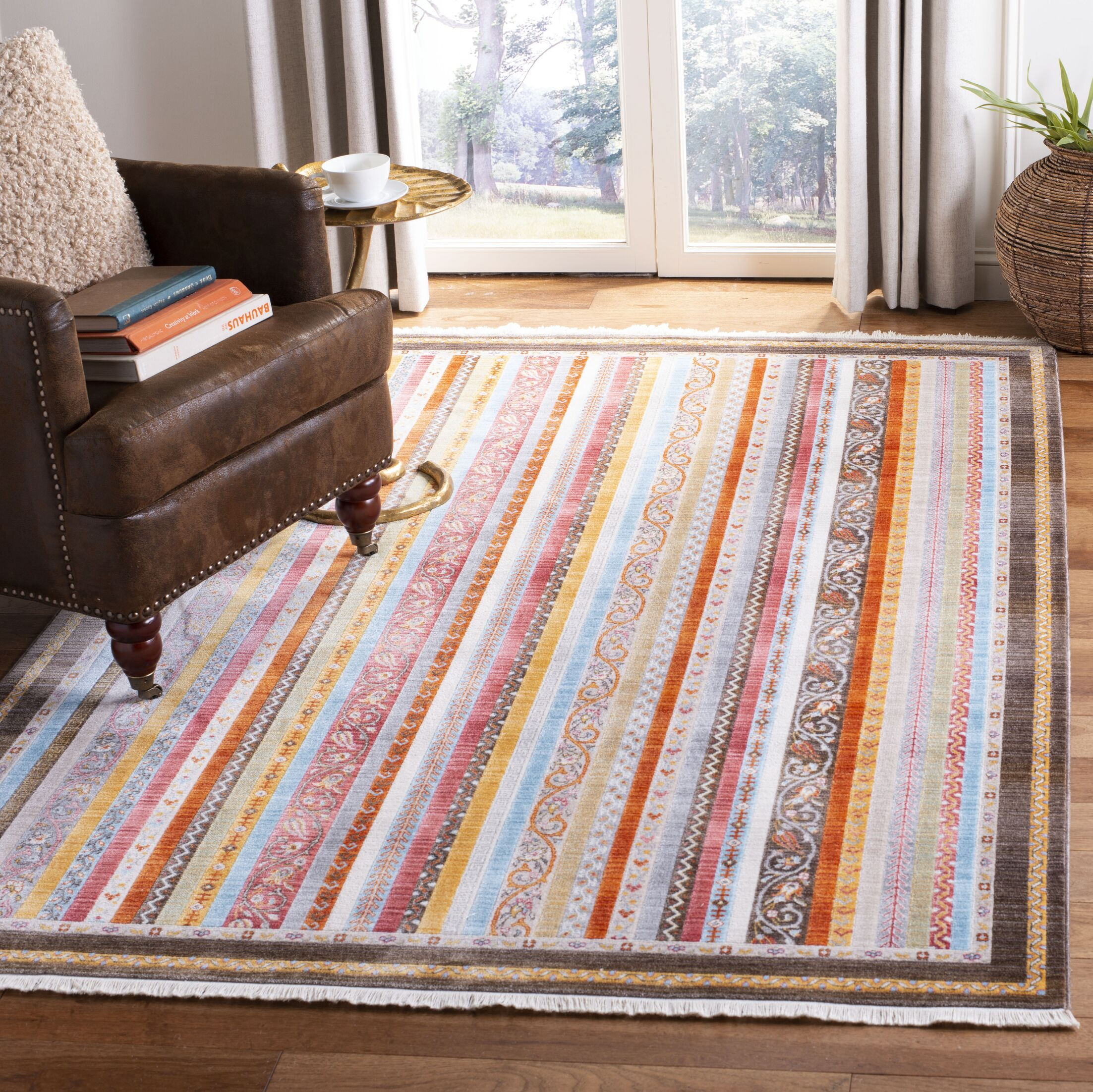 Poulsbo Cotton Brown/Yellow Area Rug Rug Size: Rectangle 9' X 11'7