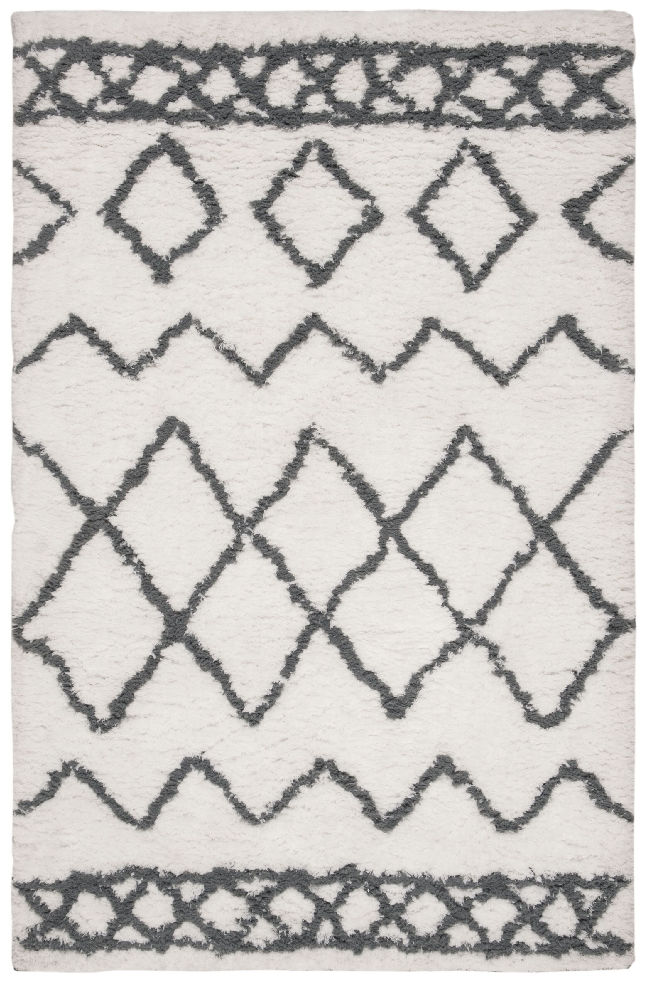 Boyland Shag Hand-Tufted Cream/Gray Area Rug Rug Size: Rectangle 4' X 6'