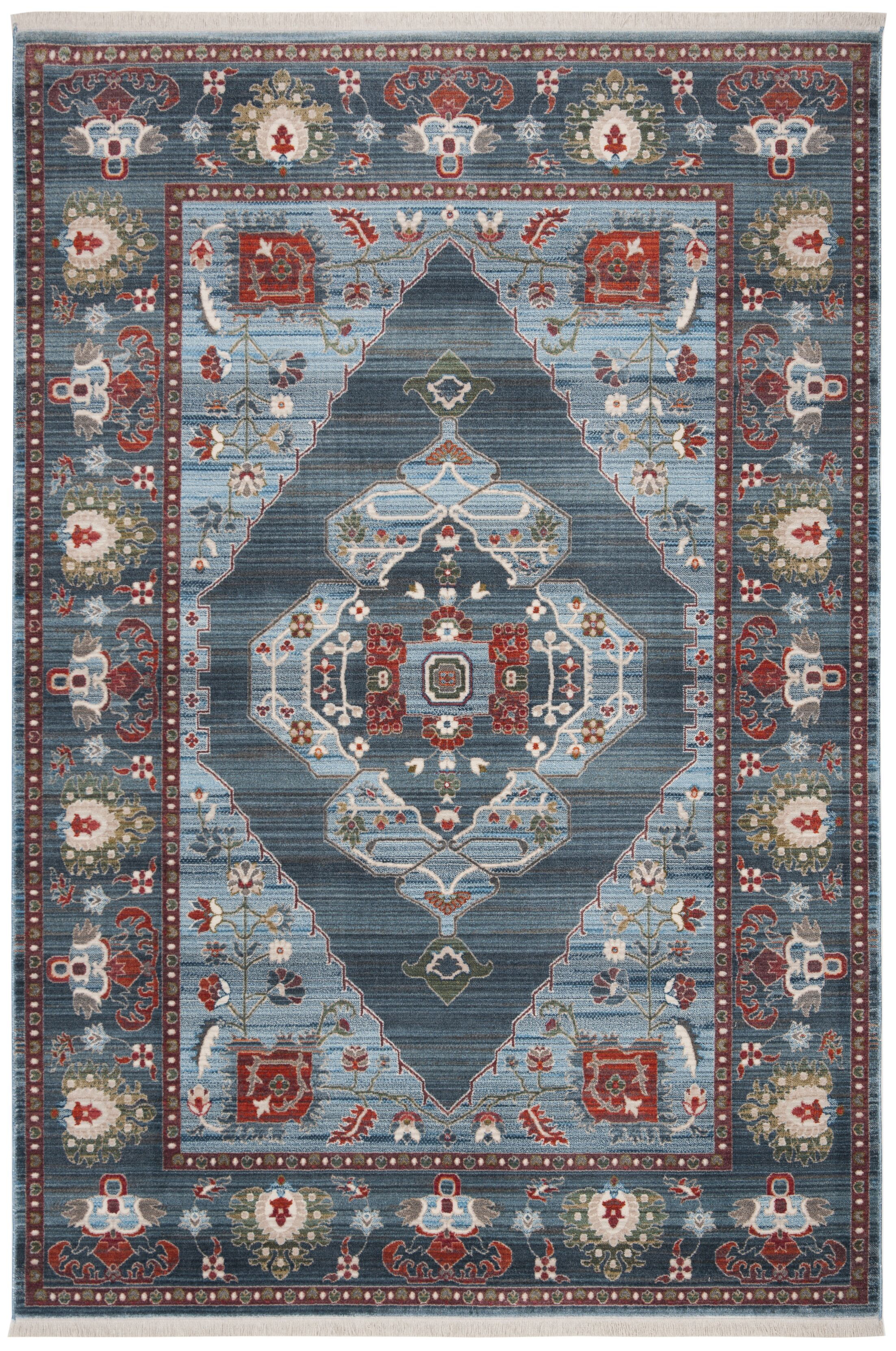Pray Vintage Persian Cotton Blue/Light Blue Area Rug Rug Size: Rectangle 3' X 5'