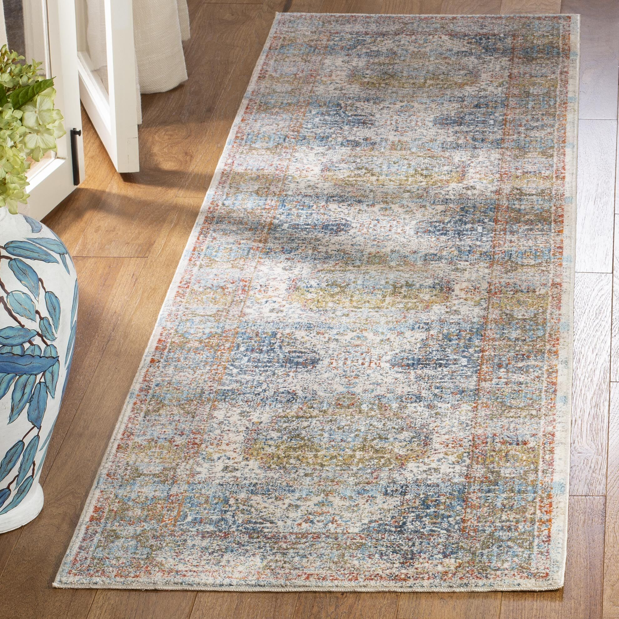 Presswood Vintage Persian Cotton Beige/Blue Area Rug Rug Size: Rectangle 4' X 6'