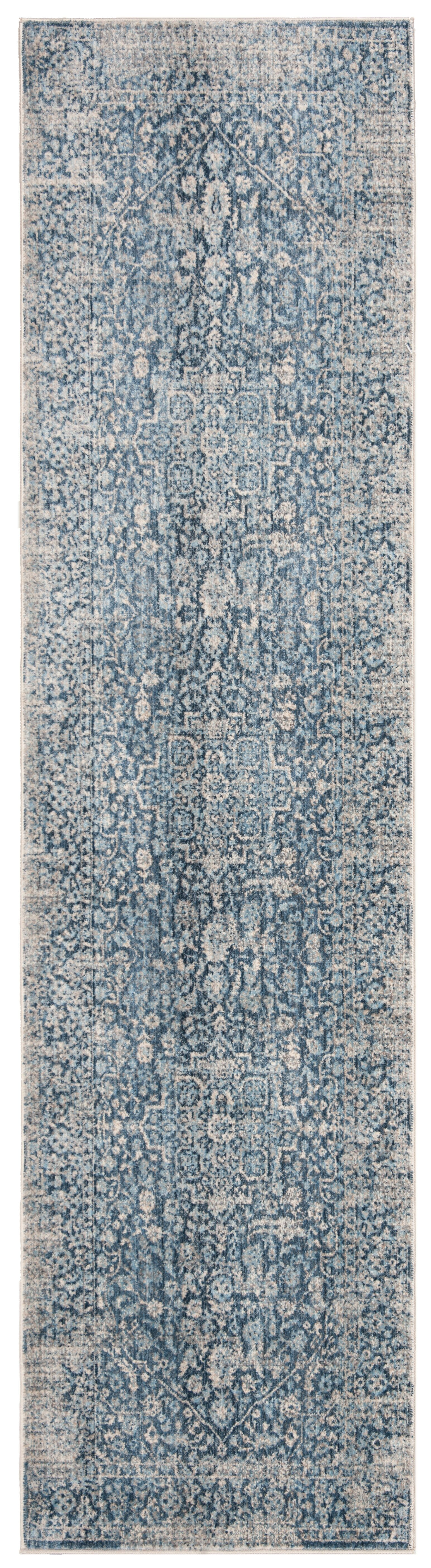 Coweta Vintage Persian Cotton Blue/Ivory Area Rug Rug Size: Rectangle 4' X 6'